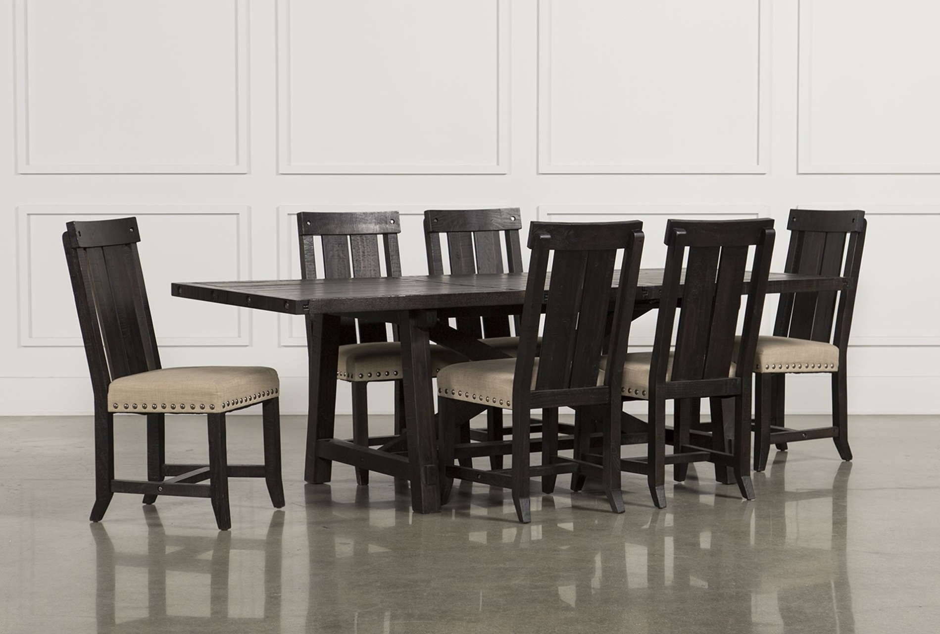 Tables, Chairs, & Servers – Hello Furniture Pertaining To Most Up To Date Jaxon Grey 5 Piece Extension Counter Sets With Fabric Stools (Image 20 of 20)