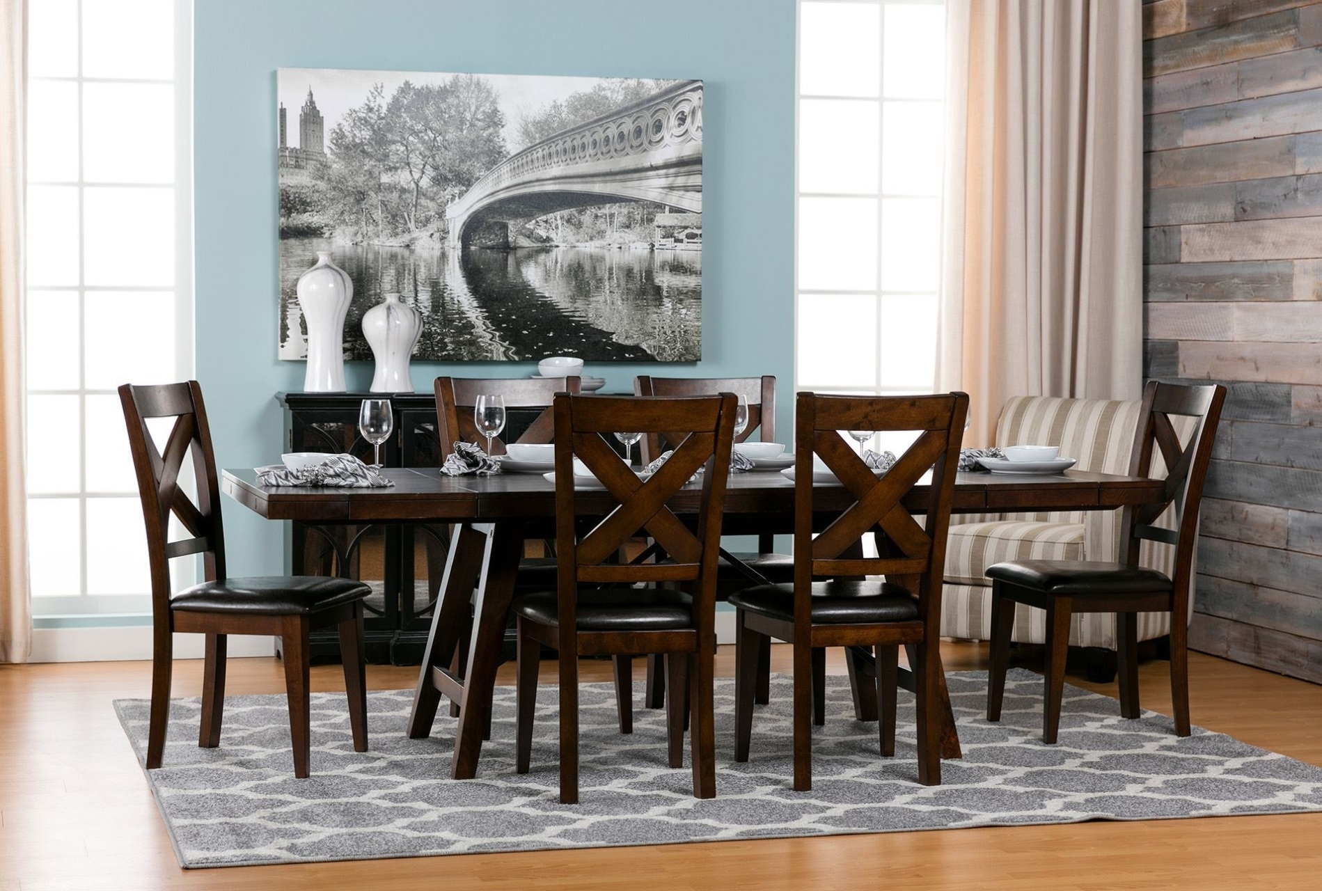 Tables, Chairs, & Servers – Hello Furniture Throughout Most Up To Date Jaxon Grey 7 Piece Rectangle Extension Dining Sets With Wood Chairs (Image 20 of 20)