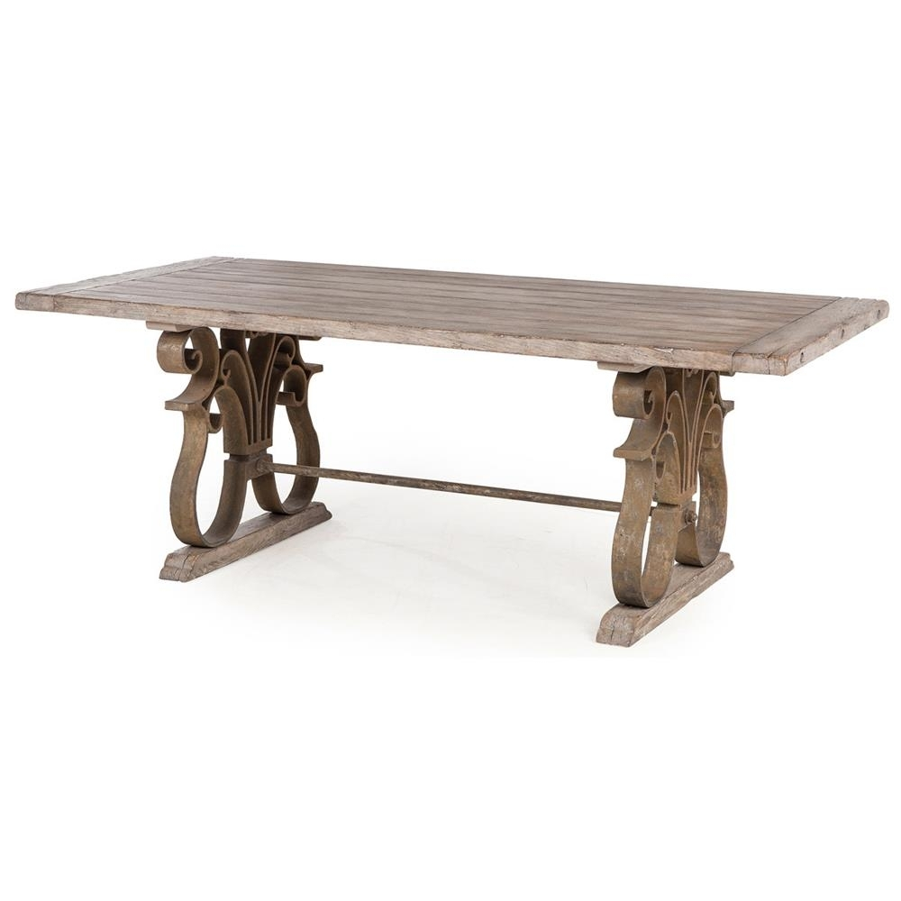 Talulah French Country Rustic Iron Scroll Aged Wood Dining Table Within Recent Iron And Wood Dining Tables (View 4 of 20)