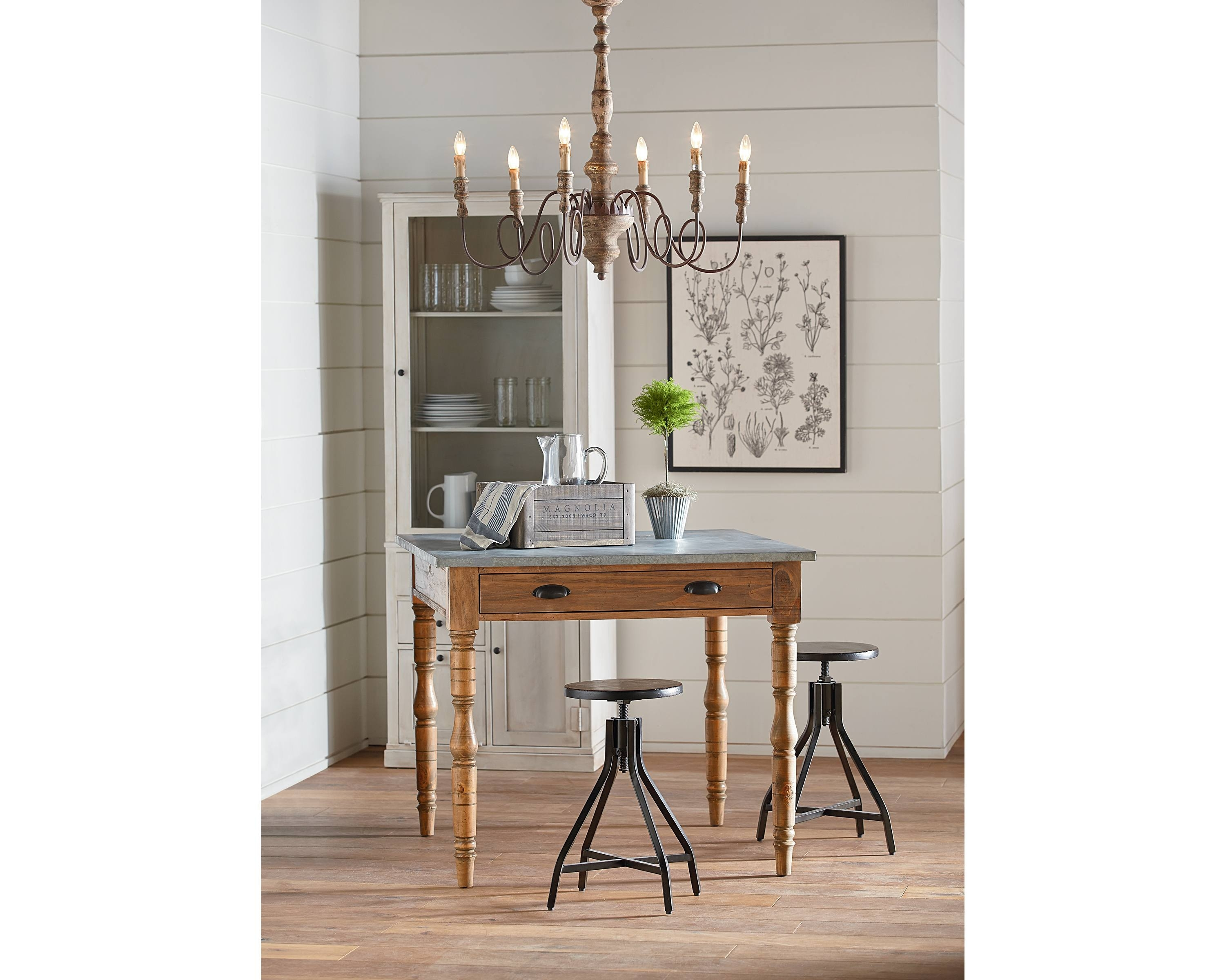 Featured Image of Magnolia Home Taper Turned Bench Gathering Tables With Zinc Top
