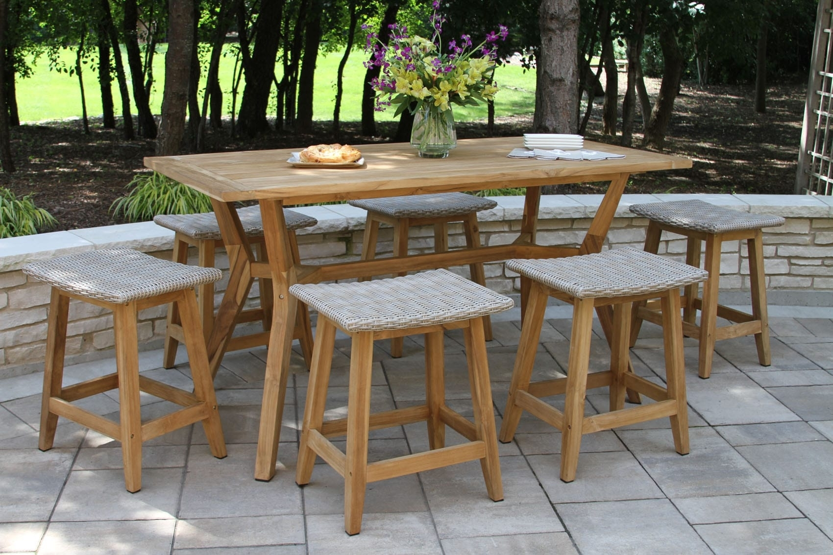 Teak & Wicker Furniture Collection From Outdoor Interiors Regarding Most Recent Outdoor Brasilia Teak High Dining Tables (View 4 of 20)
