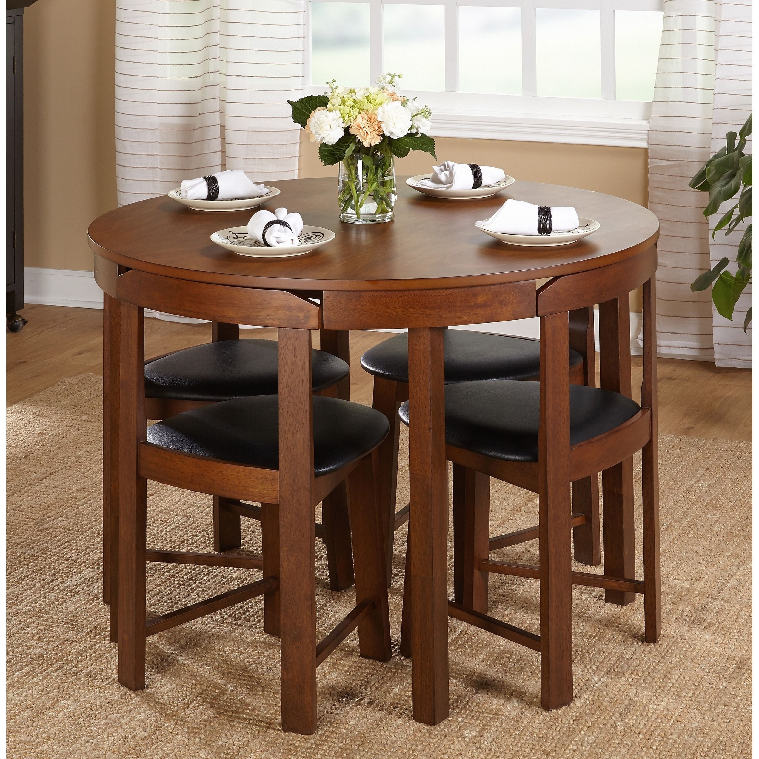 The 5 Piece Tobey Compact Dining Setsimple Living Offers Four Intended For 2018 Valencia 5 Piece Round Dining Sets With Uph Seat Side Chairs (Image 16 of 20)