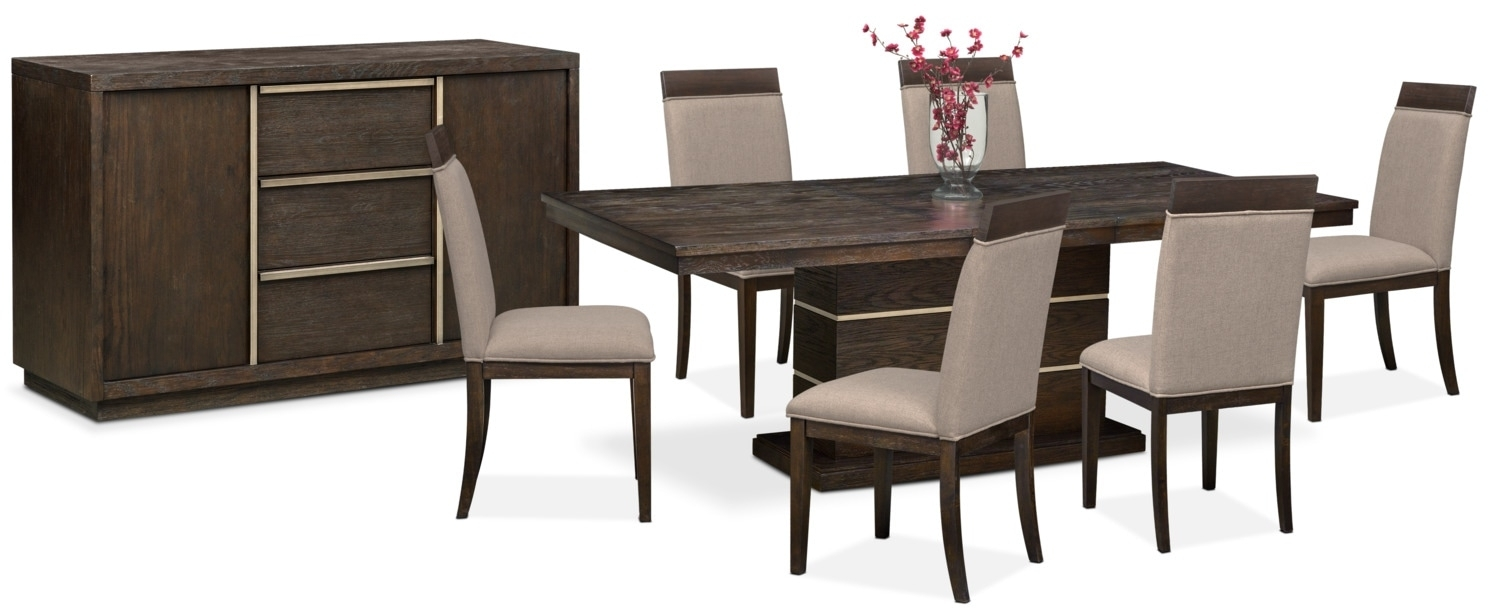 The Gavin Dining Collection – Brownstone | American Signature Furniture For Most Recent Gavin 7 Piece Dining Sets With Clint Side Chairs (Photo 5 of 20)