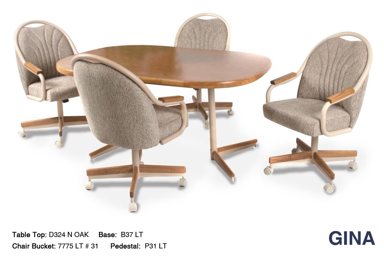 The Gina Metal And Wood Combination Swivel Tilt Dinette Set Within Most Recently Released Palazzo 7 Piece Dining Sets With Pearson White Side Chairs (Photo 16 of 20)