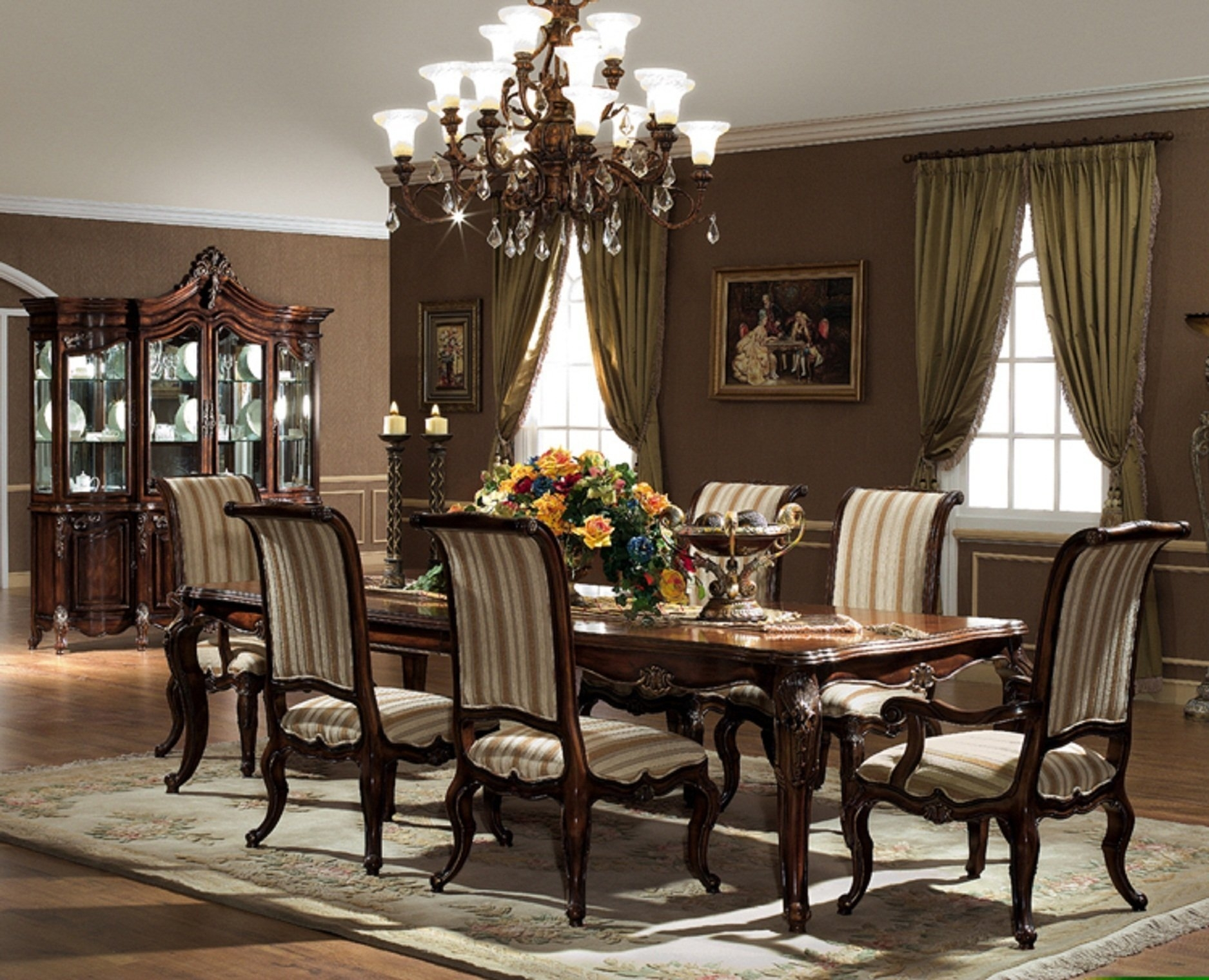 The Valencia Formal Dining Room Collection – Within 2018 Valencia 5 Piece Round Dining Sets With Uph Seat Side Chairs (Image 17 of 20)