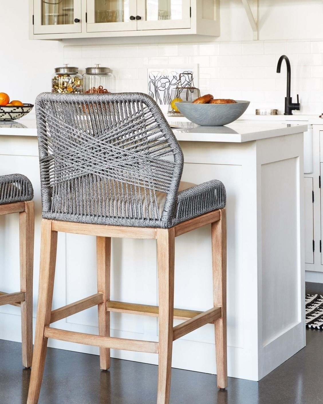 These Woven Rope Counter Stools Are Such A Fun, Unexpected Kitchen For Newest Laurent 7 Piece Counter Sets With Wood Counterstools (Image 15 of 20)