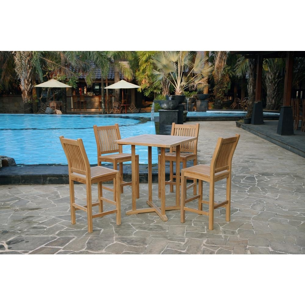 Tortuga Outdoor Jakarta 5 Piece Teak Outdoor Bar Height Dining Set With Regard To Most Recent Outdoor Tortuga Dining Tables (View 7 of 20)