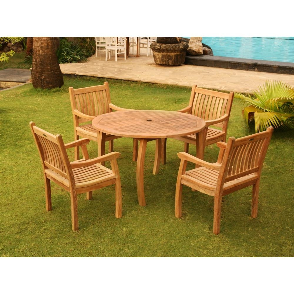 Tortuga Outdoor Jakarta 5 Piece Teak Outdoor Dining Set Tk 5Pc D Regarding Most Current Outdoor Tortuga Dining Tables (View 11 of 20)