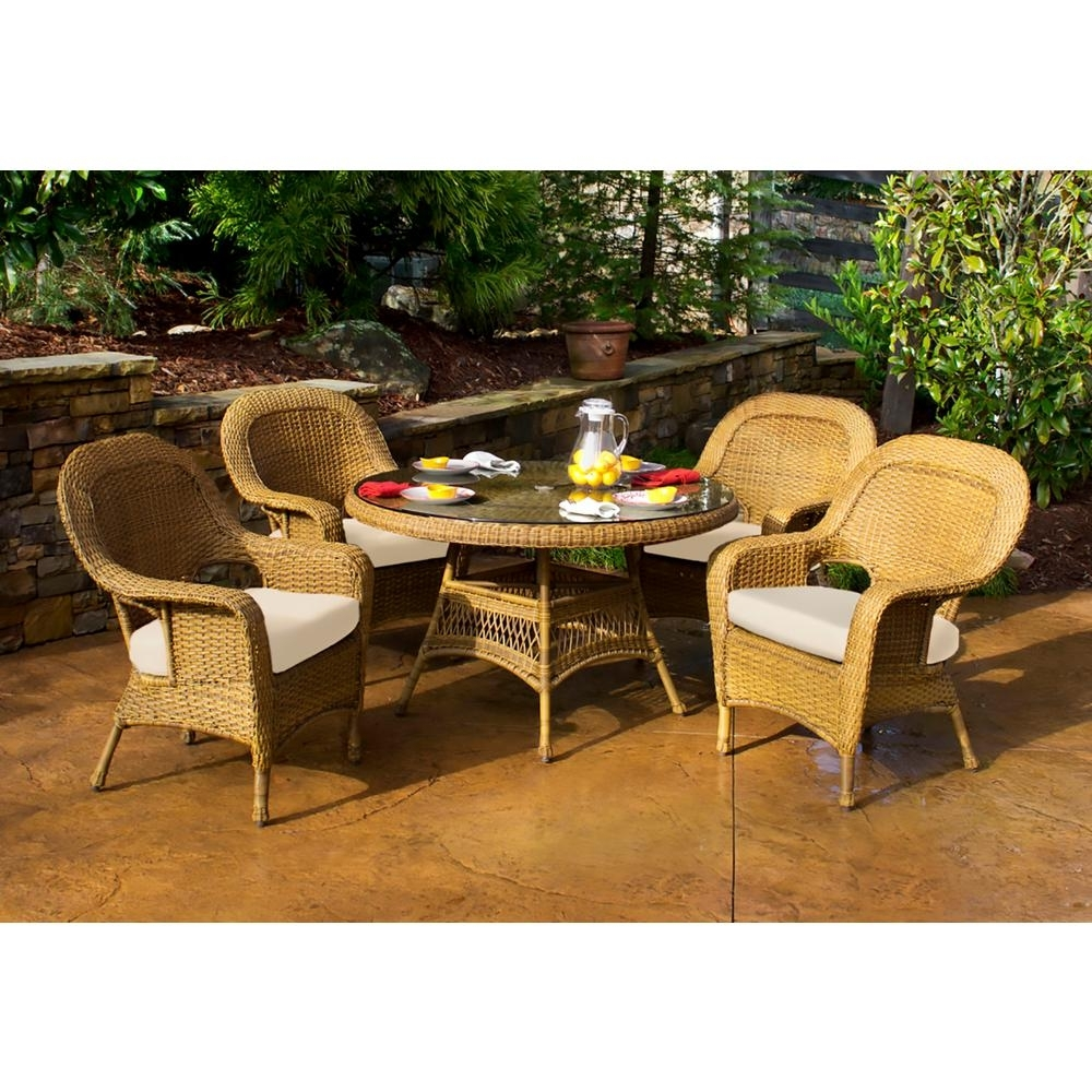 Tortuga Outdoor Sea Pines Mojave 5 Piece Wicker Outdoor Dining Set For Best And Newest Outdoor Tortuga Dining Tables (View 5 of 20)