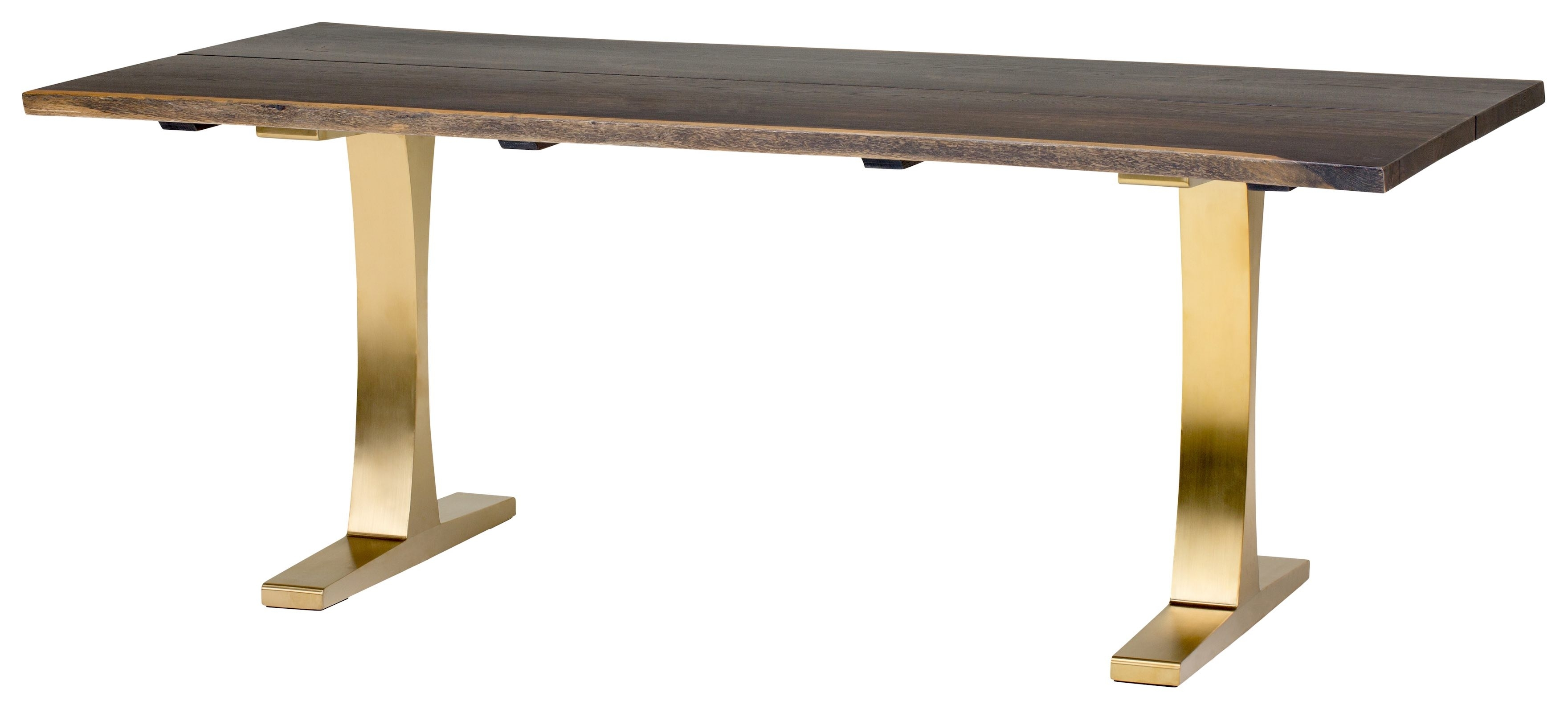 Toulouse Boule 78 Inch Dining Table In Seared Oak And Brushed Gold Base In Recent Portland 78 Inch Dining Tables (Image 20 of 20)