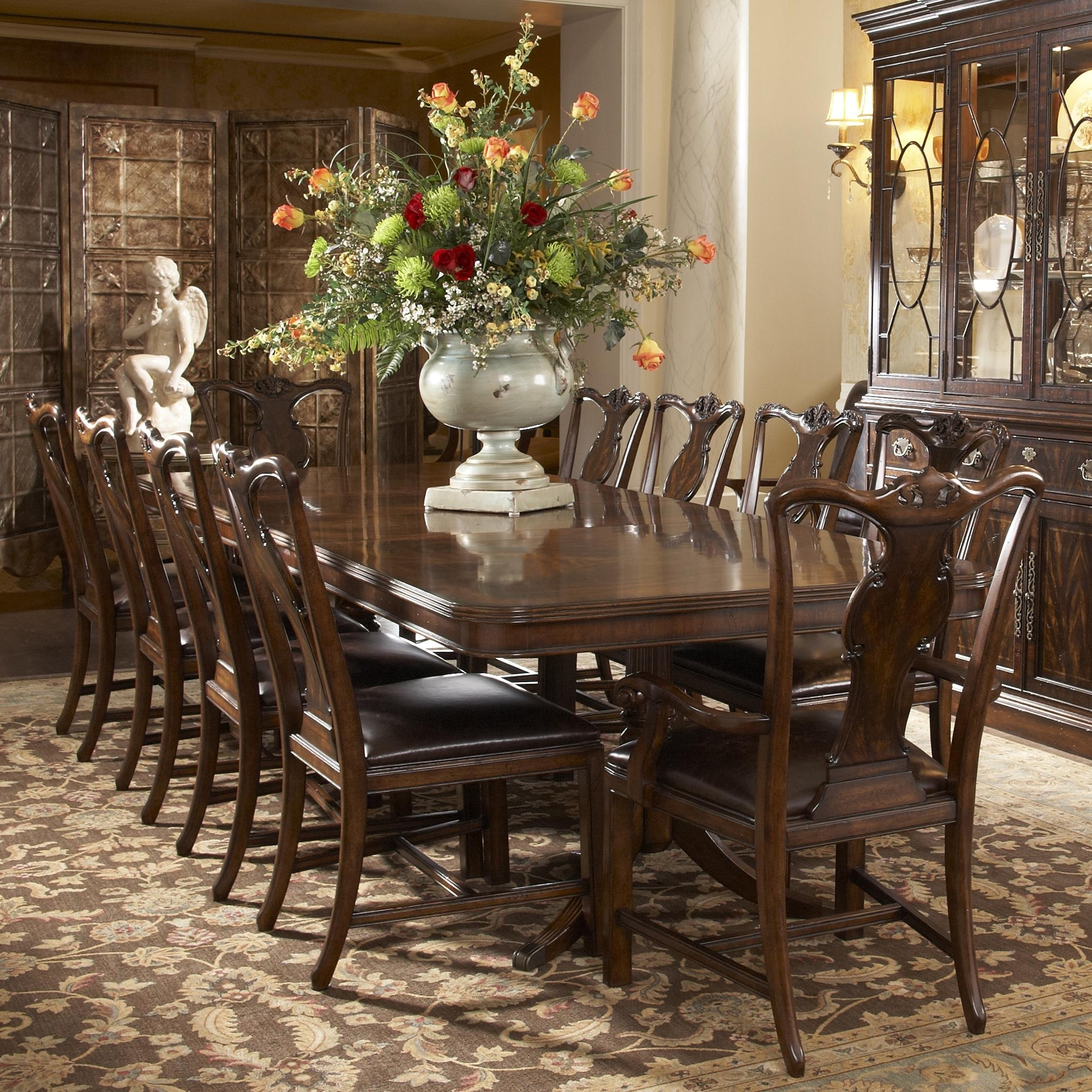Traditional Rectangular Double Pedestal Dining Tablefine Inside Most Up To Date Magnolia Home Double Pedestal Dining Tables (Image 20 of 20)