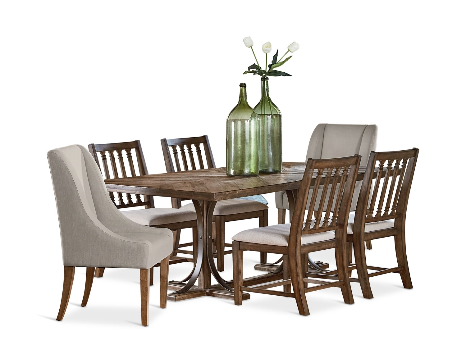 Trestle Dining Table And 4 Revival Side| Hom Furniture With Best And Newest Magnolia Home Shop Floor Dining Tables With Iron Trestle (Image 20 of 20)