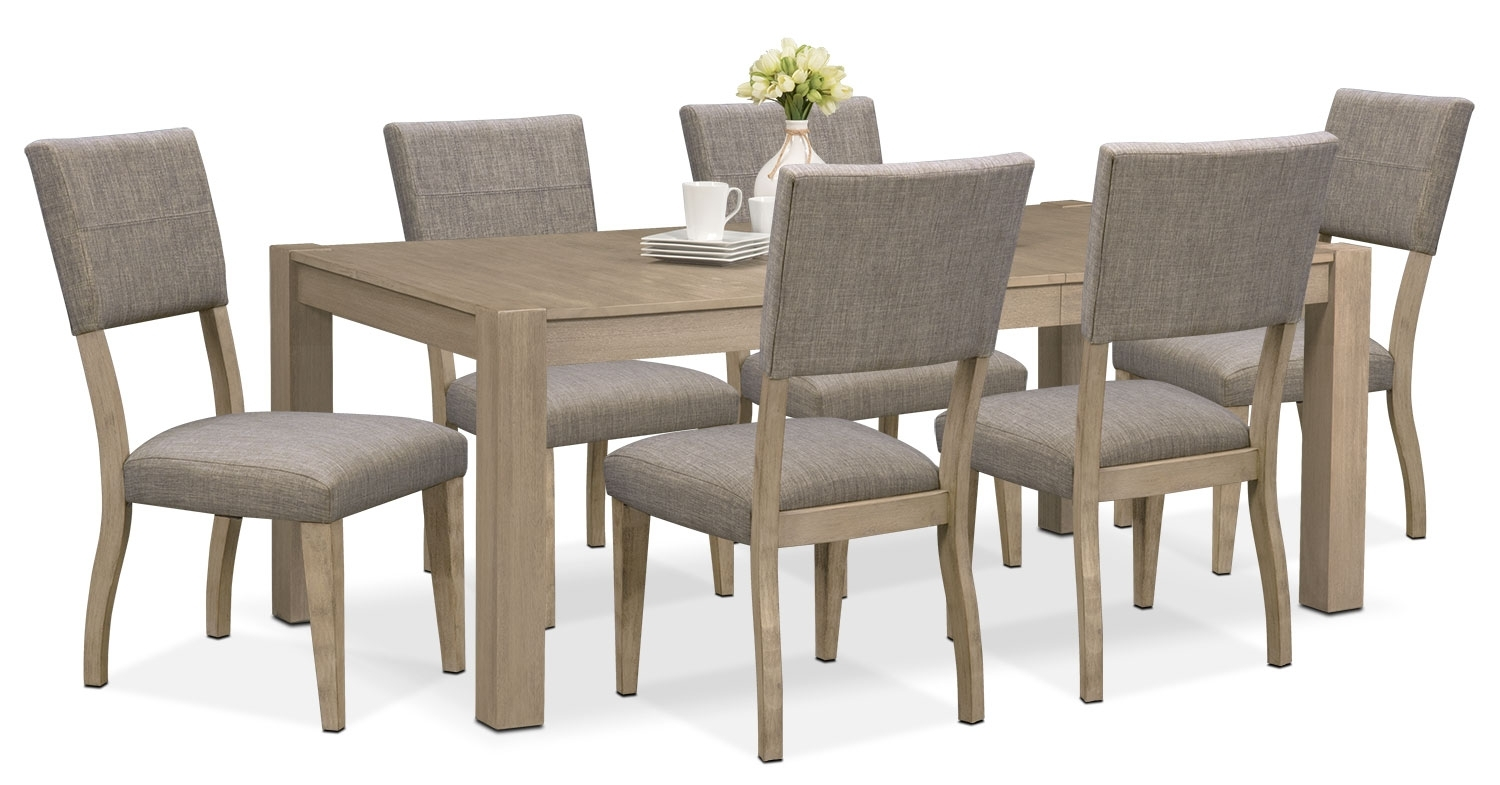 Tribeca Table And 6 Upholstered Side Chairs – Gray | Value City In Most Recent Gavin 6 Piece Dining Sets With Clint Side Chairs (Image 20 of 20)
