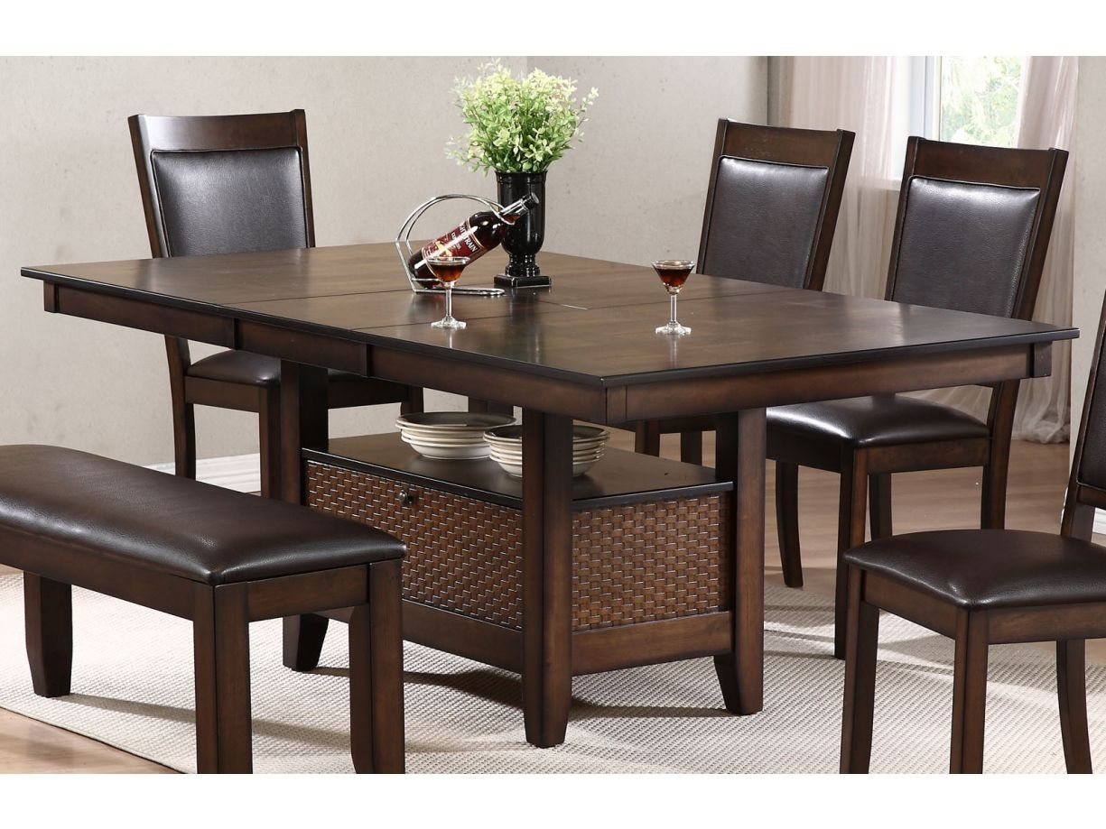 Urban Styles Winchester 7Pc Rectangular Dining Set In Cappuccino With 2018 Carly Rectangle Dining Tables (Image 20 of 20)