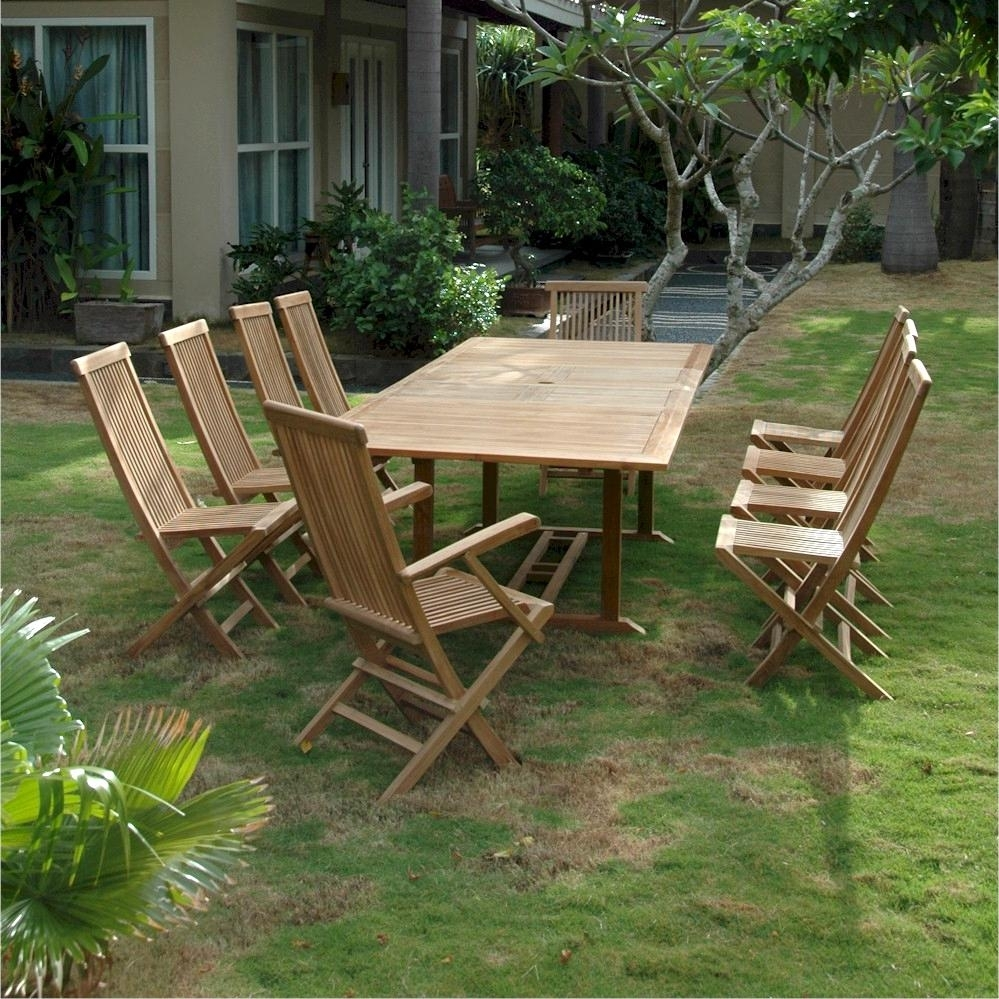 Valencia 11 Piece Teak Patio Dining Set W/ 79 X 43 Inch Rectangular Pertaining To Most Up To Date Valencia 72 Inch 6 Piece Dining Sets (Photo 13 of 20)