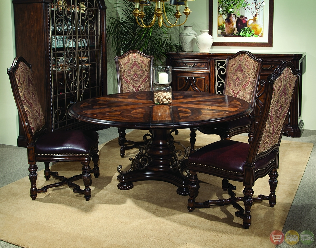 Valencia Antique Style Round Table Dining Room Set, Dining Room Intended For Recent Valencia 72 Inch 6 Piece Dining Sets (View 16 of 20)