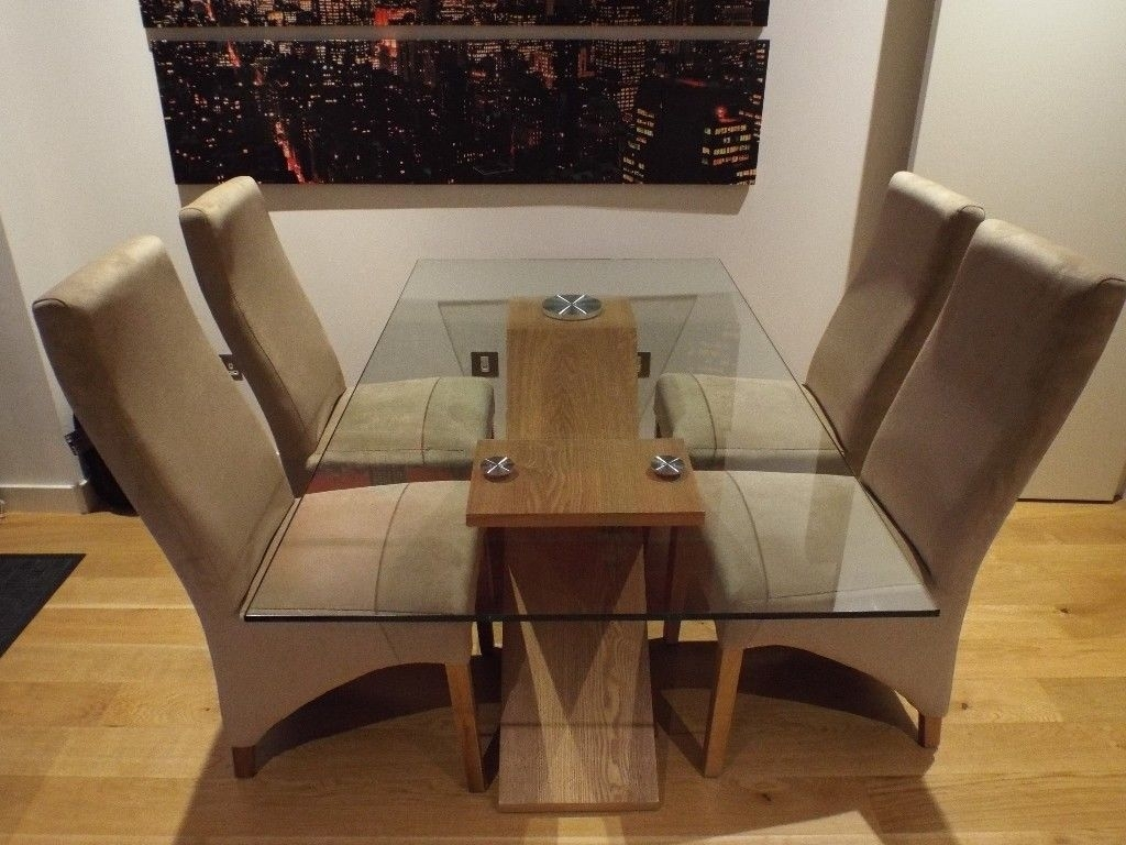Valencia Oak 160Cm Wood And Glass Dining Table With 4 Lola Dining For Most Up To Date Valencia 60 Inch Round Dining Tables (Image 19 of 20)