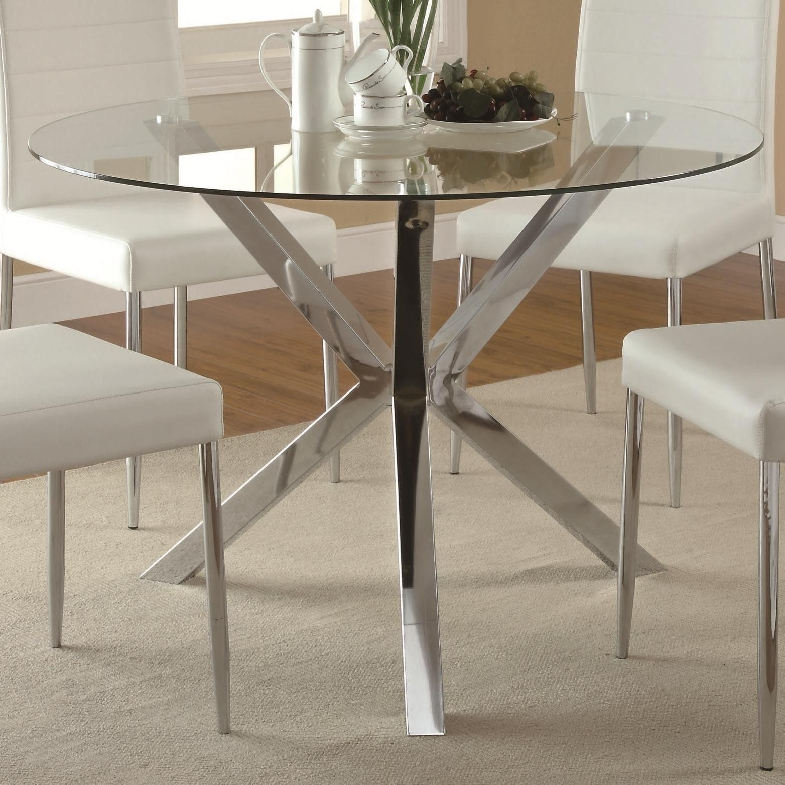 Vance Glass Top Dining Table With Unique Chrome Base 120760 Qlx1 Pertaining To Best And Newest Lassen 7 Piece Extension Rectangle Dining Sets (Image 19 of 20)