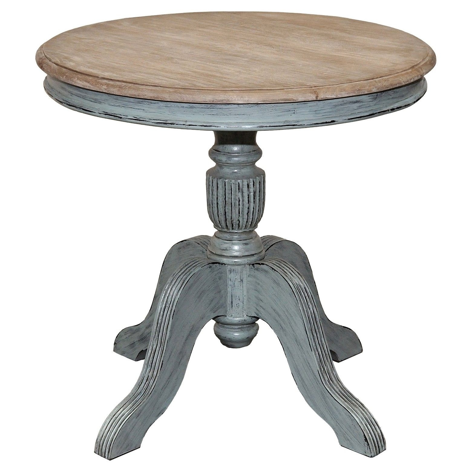 Venezia Round 31 Dining Table Farmhouse Island Blue Base With Rustic Within Most Up To Date Grady Round Dining Tables (View 5 of 20)