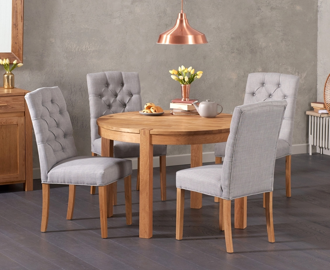 Verona 110Cm Solid Oak Round Table With Candice Fabric Chairs | The In Most Up To Date Candice Ii Round Dining Tables (Photo 6 of 20)