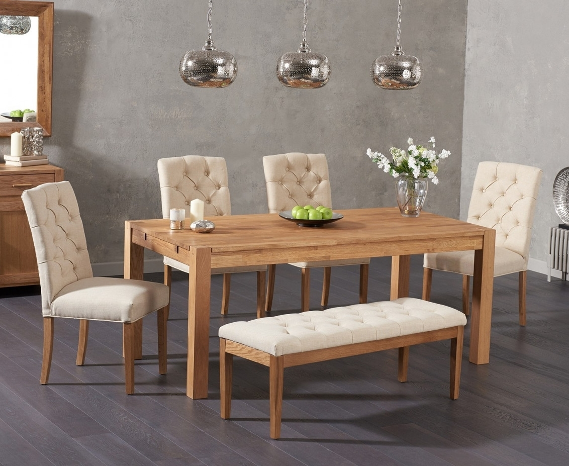 Verona 150Cm Solid Oak Dining Table With Candice Fabric Chairs And With Regard To Best And Newest Candice Ii 6 Piece Extension Rectangle Dining Sets (View 13 of 20)