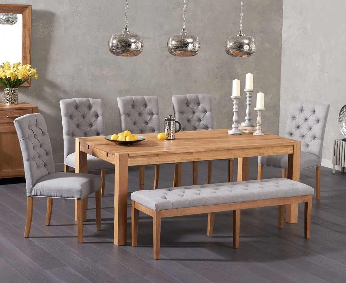 Verona 180Cm Solid Oak Dining Table With Candice Fabric Chairs And Pertaining To Most Current Candice Ii 5 Piece Round Dining Sets (Image 20 of 20)