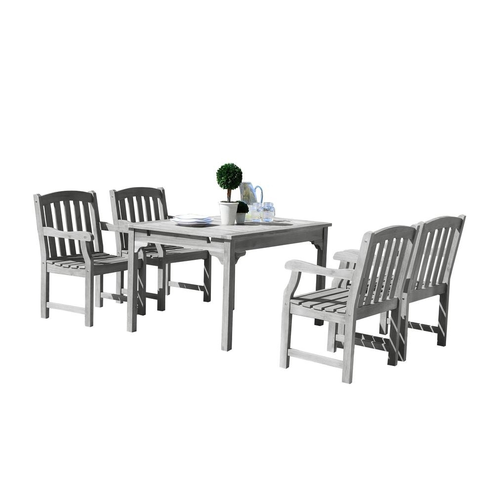 Vifah Renaissance 5 Piece Wood Rectangle Outdoor Dining Set With Most Recently Released Jaxon 5 Piece Round Dining Sets With Upholstered Chairs (View 17 of 20)