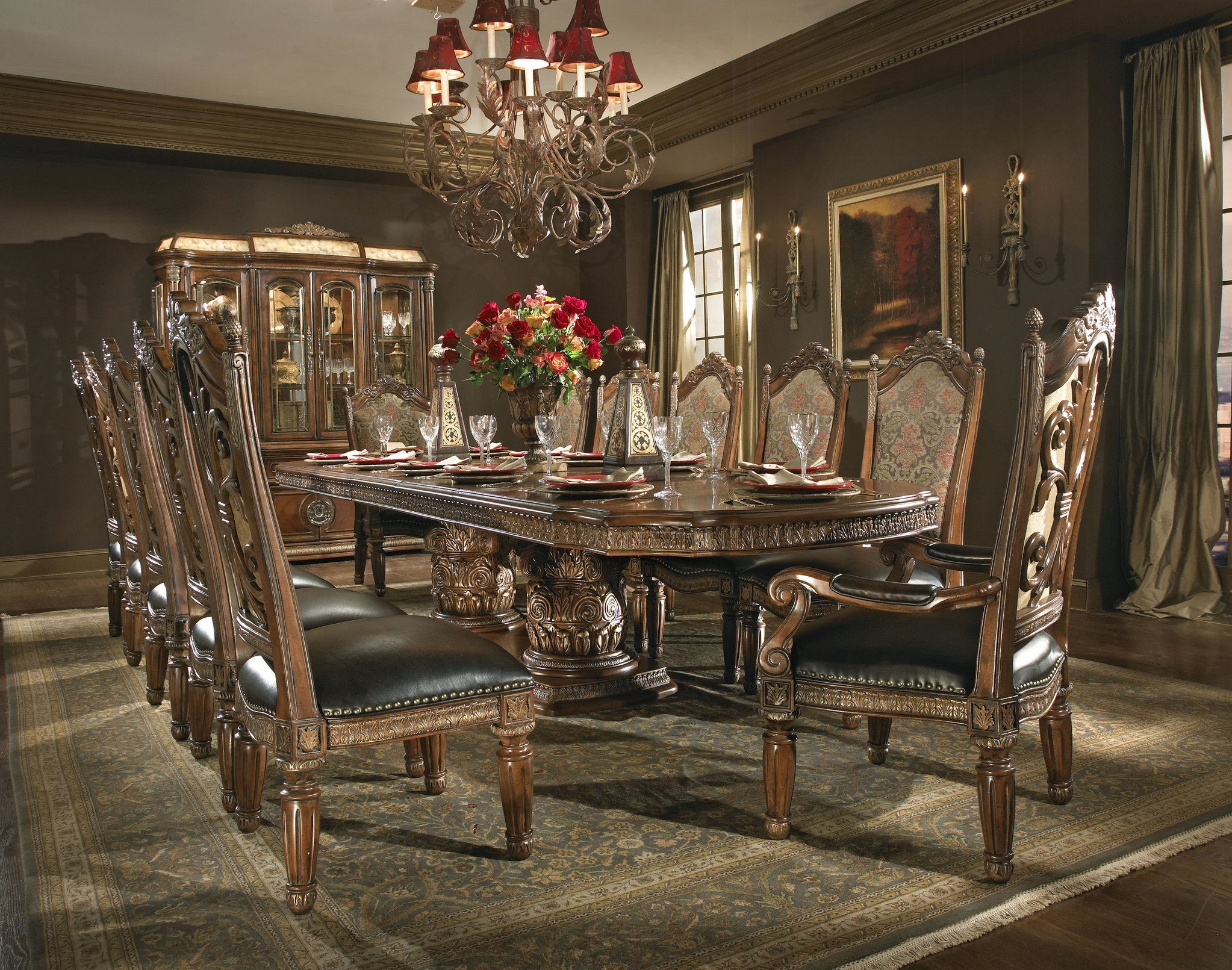 Villa Valencia Formal Dining Room Collectionaico – In Recent Valencia 5 Piece Round Dining Sets With Uph Seat Side Chairs (Image 19 of 20)