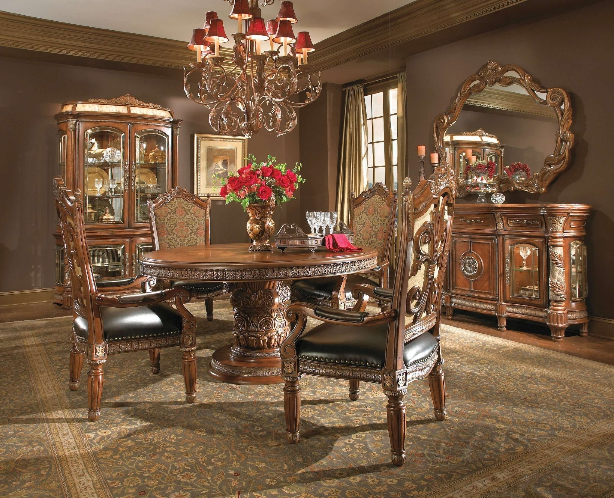 Villa Valencia Formal Round Dining Room Collectionaico – Dining Inside Most Recent Valencia 5 Piece Round Dining Sets With Uph Seat Side Chairs (Image 20 of 20)