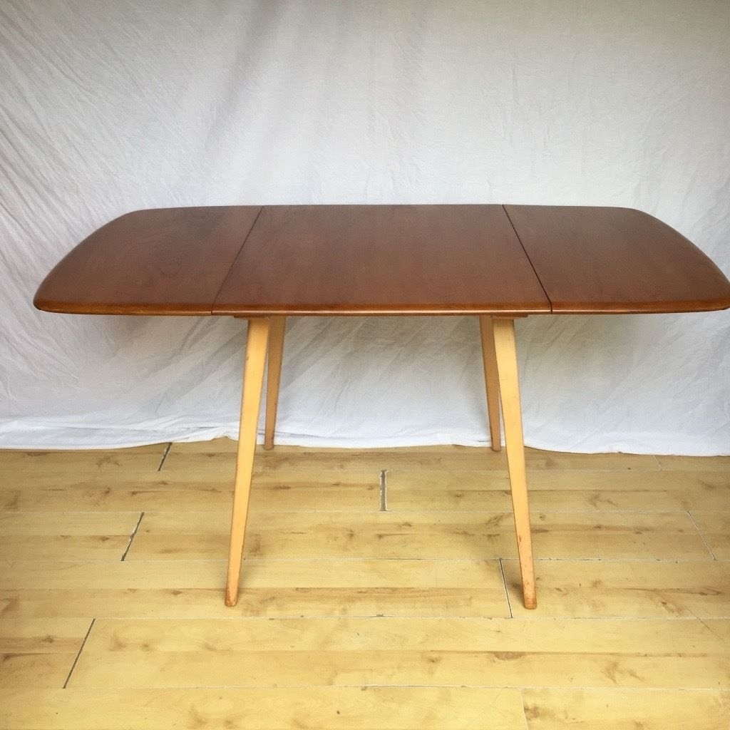 Vintage Ercol Extending Drop Leaf Plank Dining Kitchen Table | In Within Most Up To Date Norwood Rectangle Extension Dining Tables (Image 18 of 20)