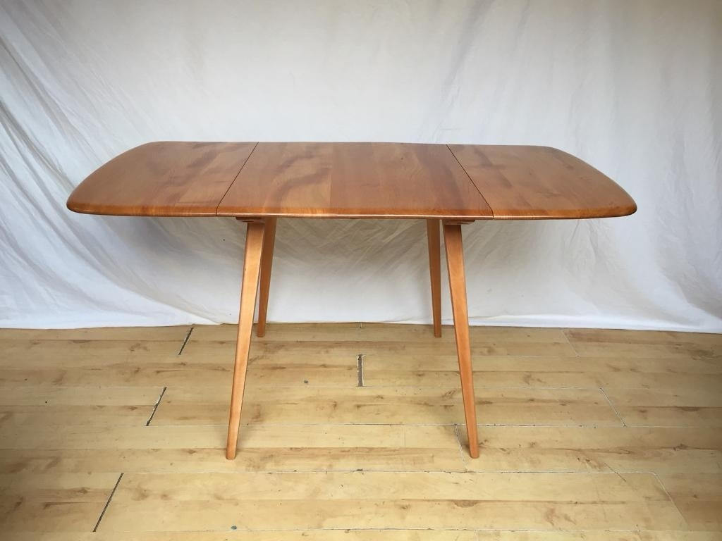 Vintage Ercol Mid Century Plank Extending Folding Drop Leaf Kitchen With Regard To Most Recently Released Norwood 9 Piece Rectangle Extension Dining Sets (Image 19 of 20)