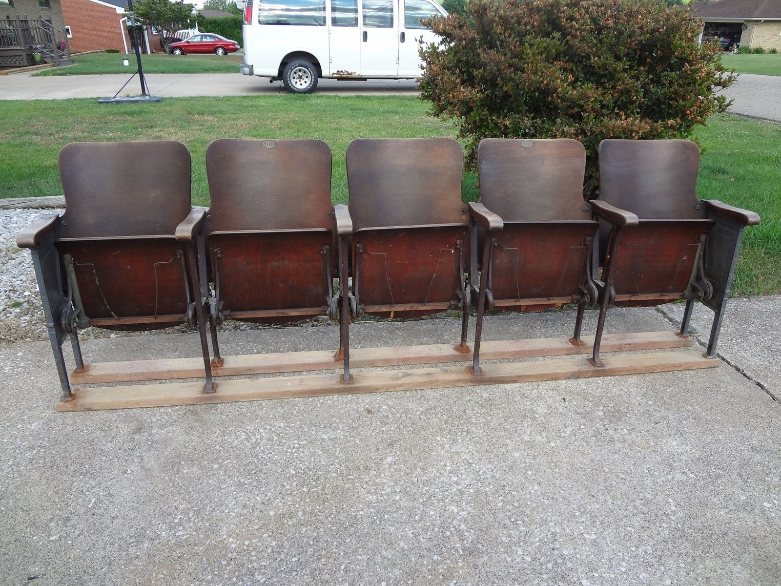 Vintage Movie Theatre Wood Seat Cast Iron Chair Auditorium Stadium Pertaining To Best And Newest Bale 7 Piece Dining Sets With Dom Side Chairs (View 8 of 20)