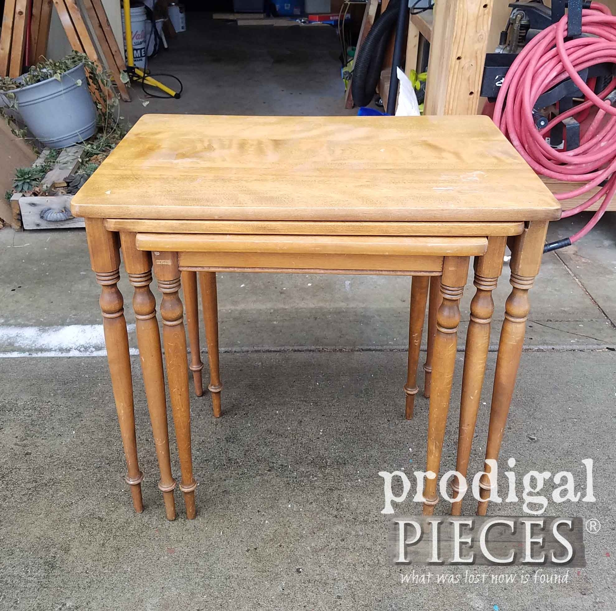 Vintage Nesting Tables Updated The Easy Way – Prodigal Pieces Within Current Carly Triangle Tables (View 16 of 20)