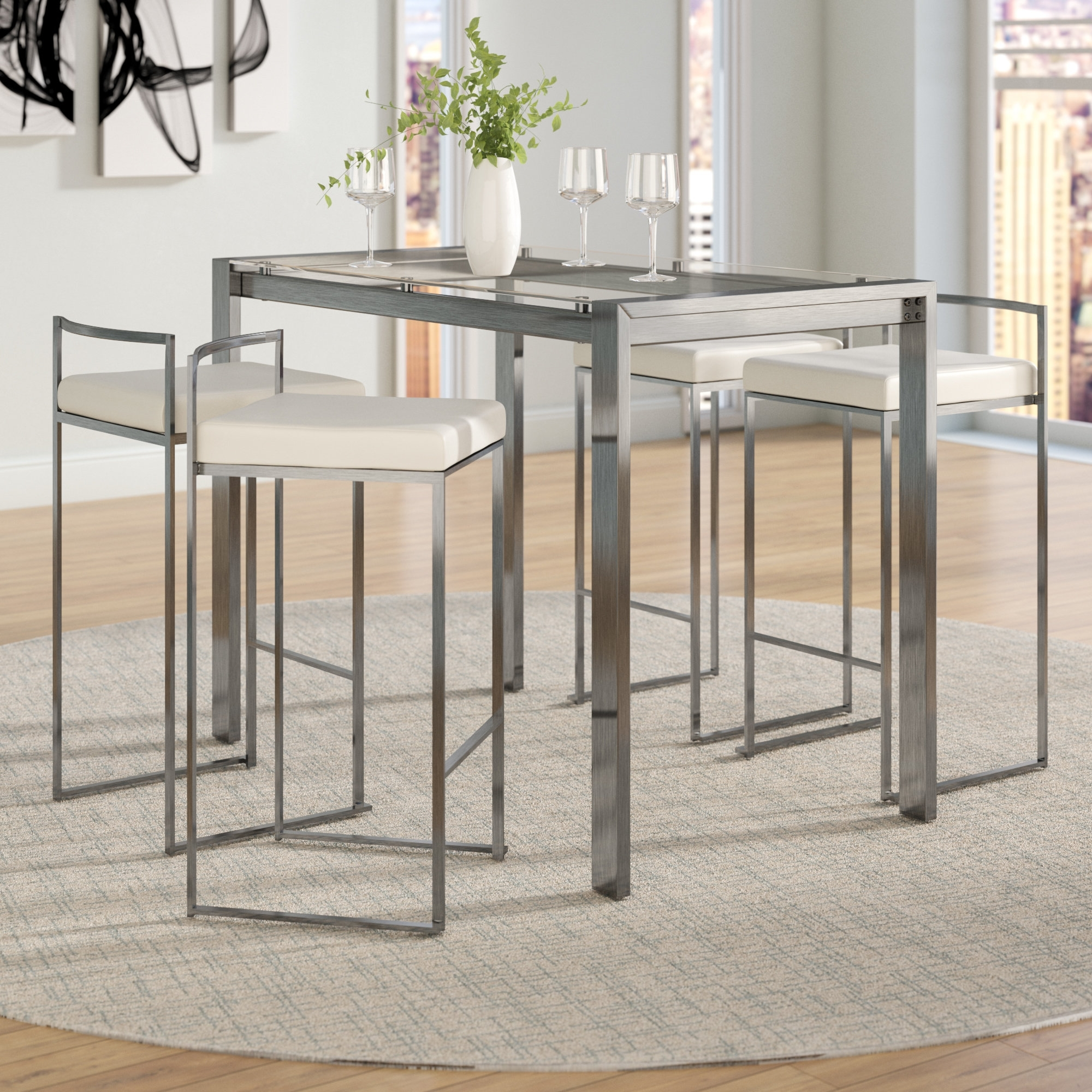 Wade Logan Gary 5 Piece Counter Height Dining Set & Reviews | Wayfair For Most Current Laurent 7 Piece Counter Sets With Wood Counterstools (Image 18 of 20)