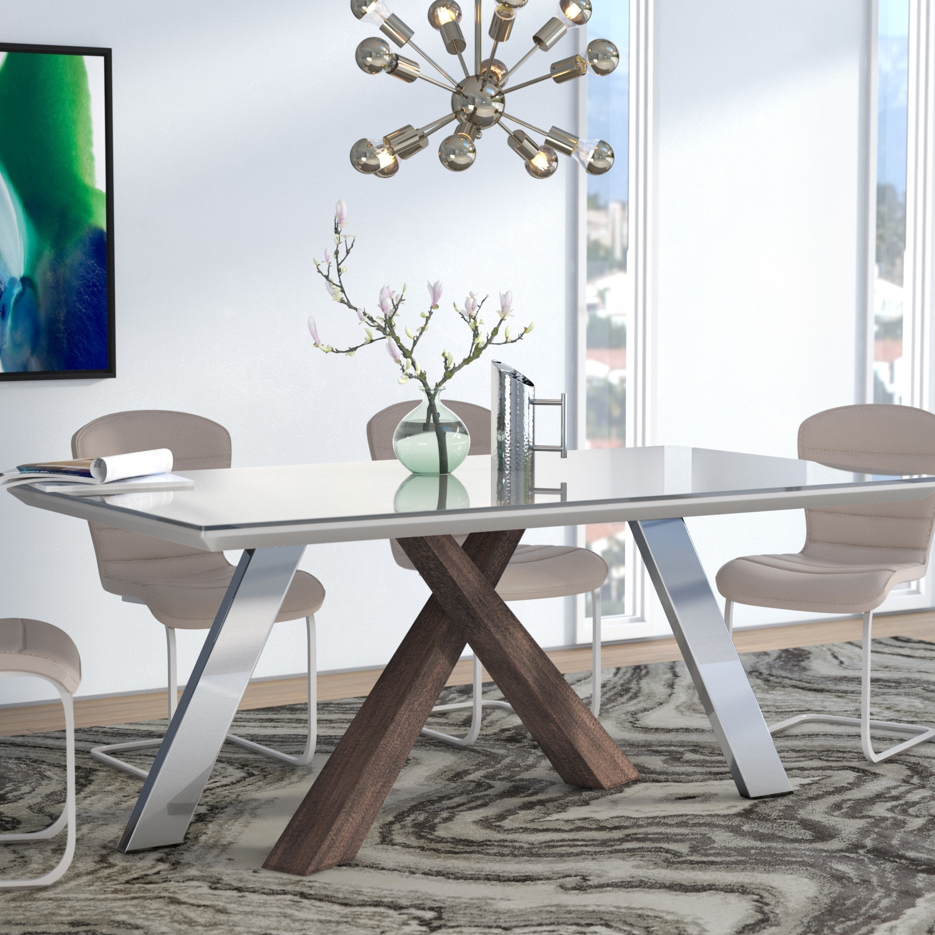 Wade Logan Link Dining Table & Reviews | Wayfair With Current Grady 5 Piece Round Dining Sets (Image 20 of 20)