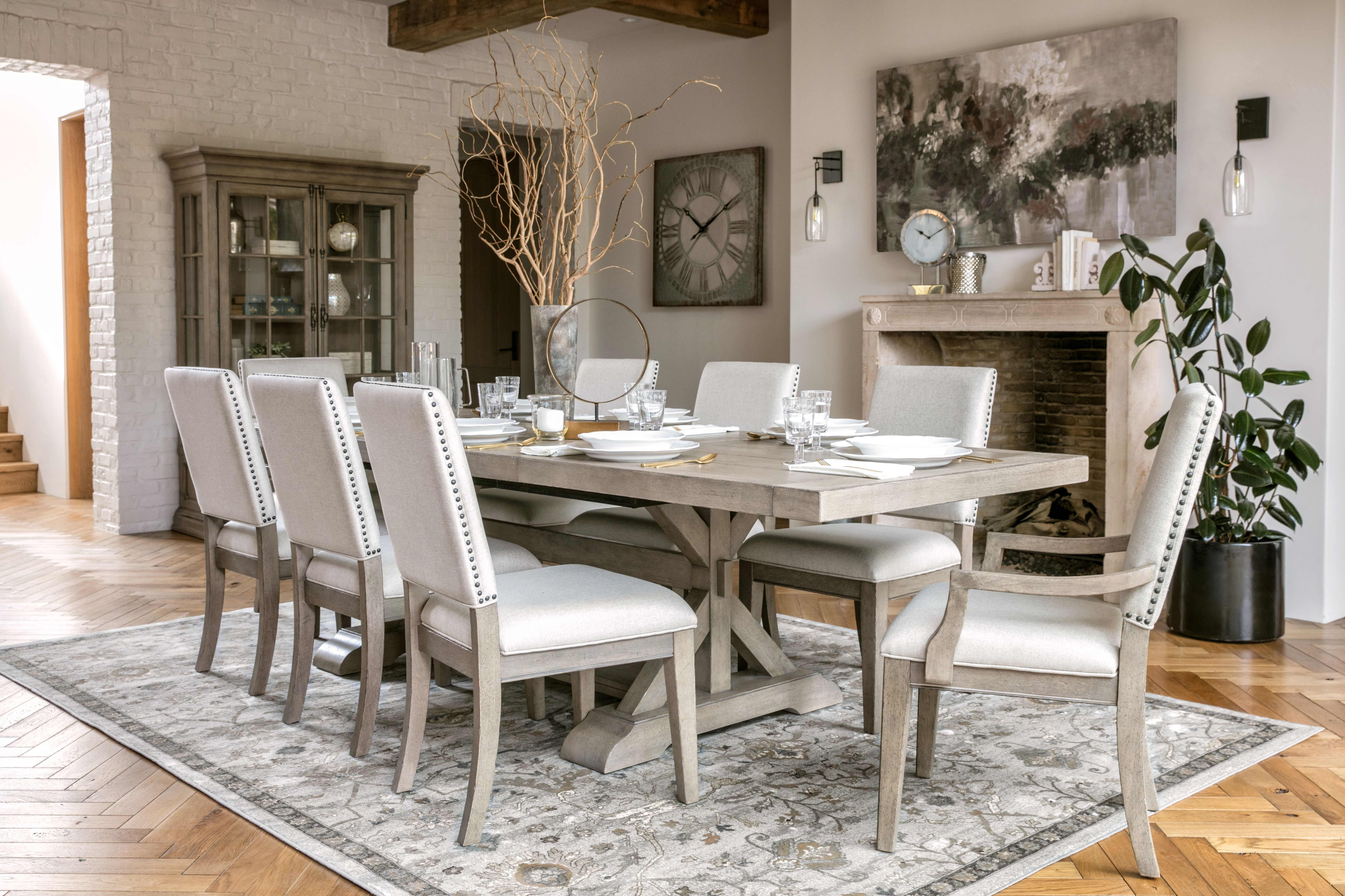 Walden 9 Piece Extension Dining Set | Nailhead Trim, Side Chair And With Regard To Current Norwood 7 Piece Rectangular Extension Dining Sets With Bench & Uph Side Chairs (Image 19 of 20)
