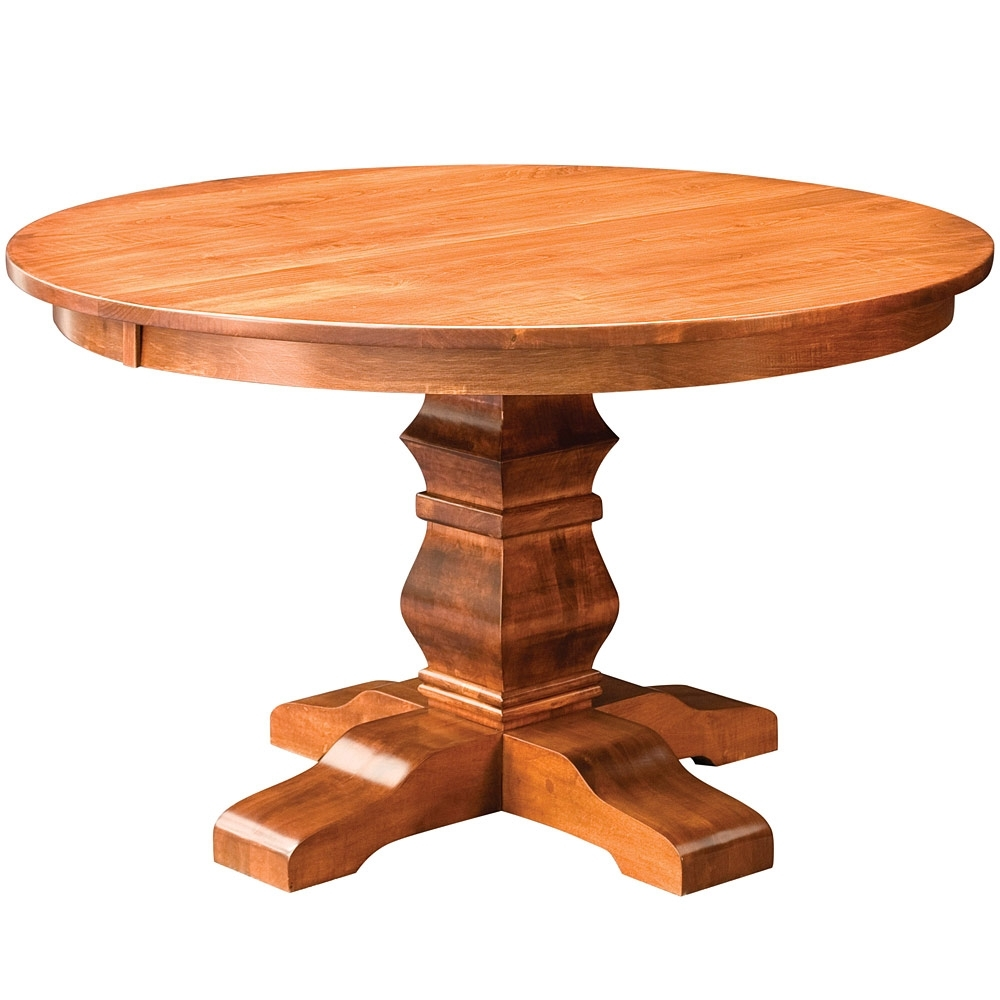 Walden Single Pedestal Amish Dining Table  Amish Tables | Cabinfield Regarding Most Up To Date Walden Extension Dining Tables (Image 20 of 20)