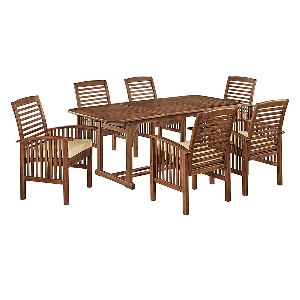 Walker Edison Furniture Company Boardwalk 7 Piece Dark Brown Acacia Pertaining To Most Recent Craftsman 7 Piece Rectangle Extension Dining Sets With Uph Side Chairs (Image 20 of 20)