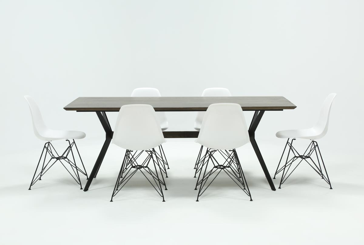Featured Image of Weaver Dark 7 Piece Dining Sets With Alexa White Side Chairs