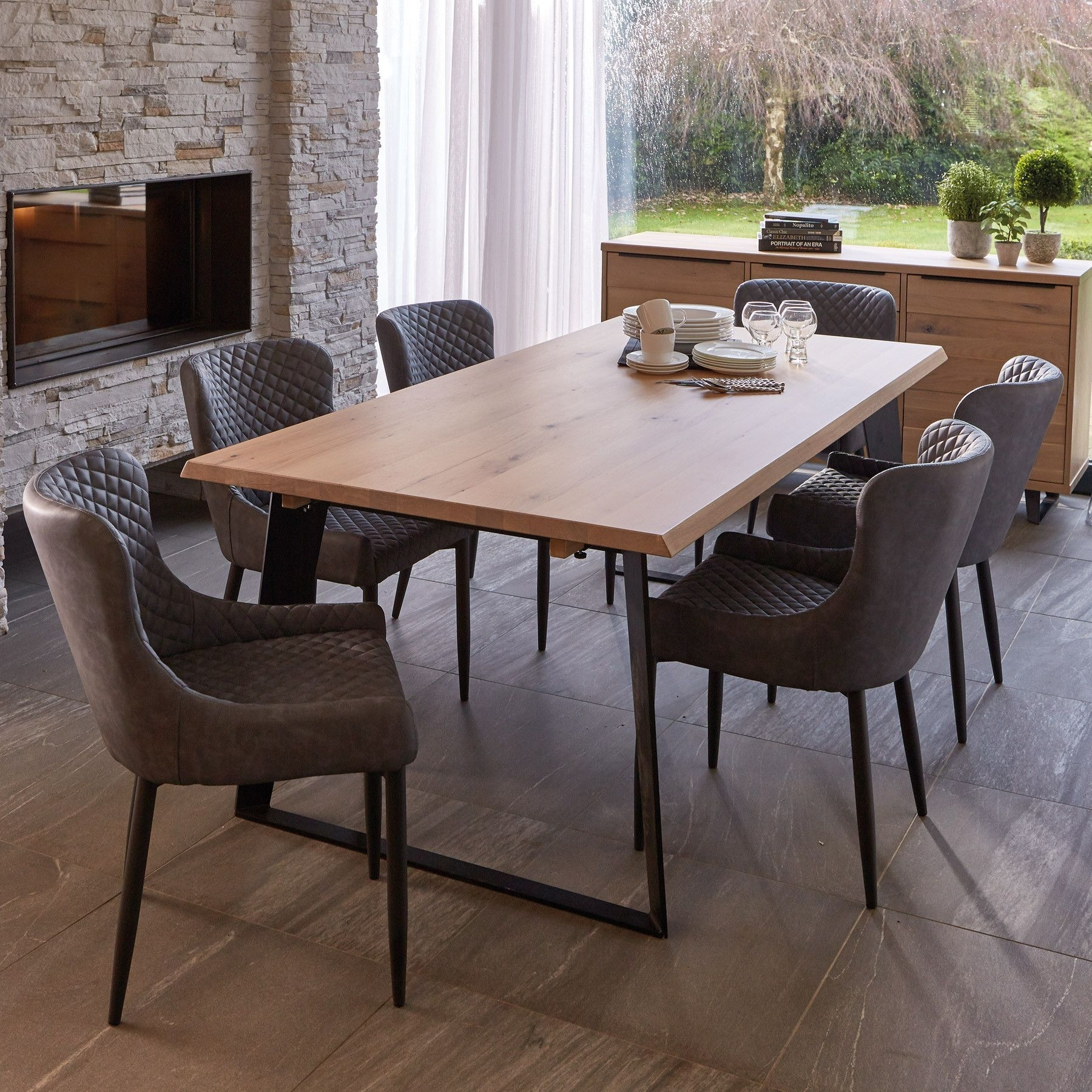Weldon Dining Table, Extension Leaf & 6 Toby Brown Dining Chairs With Recent Candice Ii 6 Piece Extension Rectangle Dining Sets (Image 19 of 20)