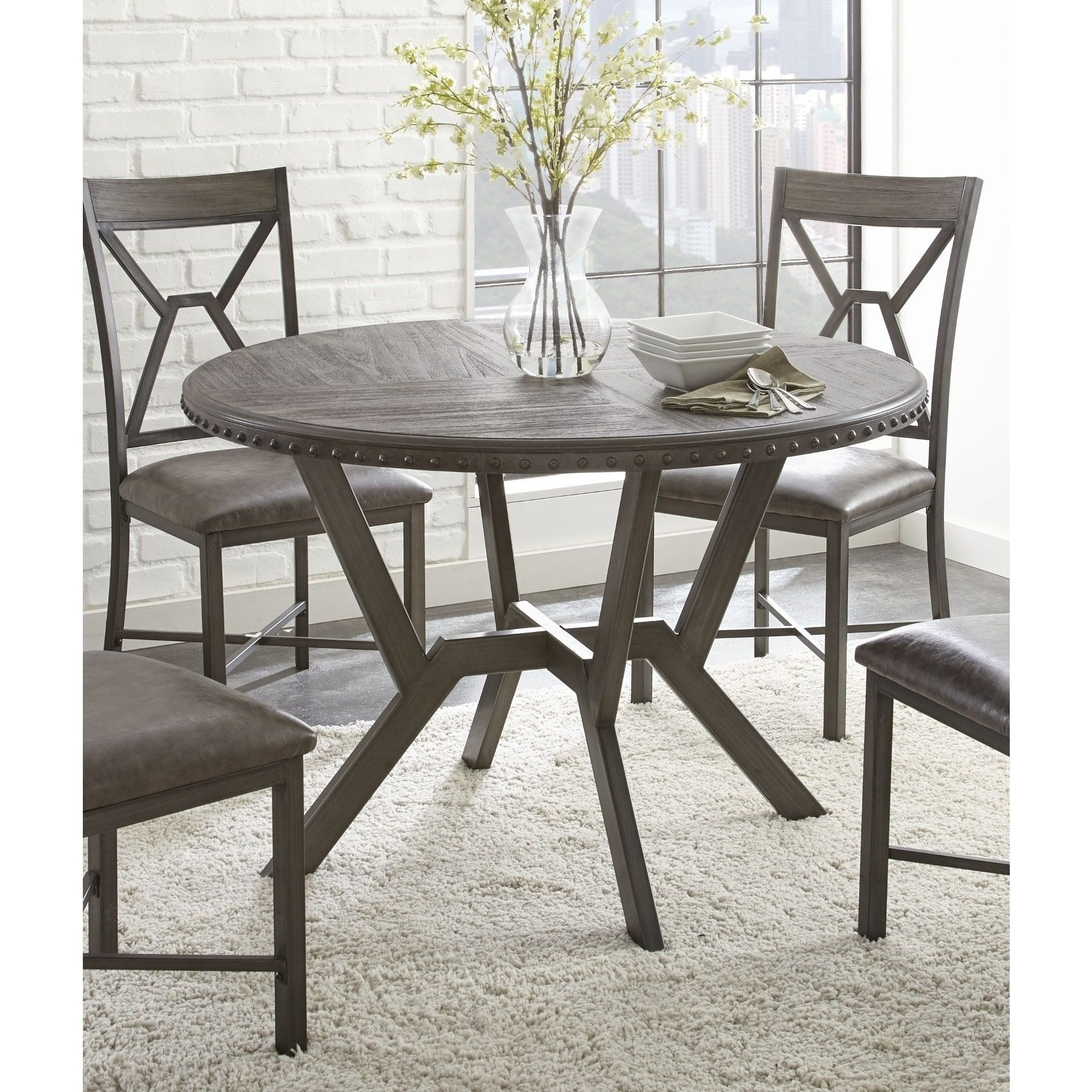 Weston Home Farmhouse Dining Chair With Cross Back (Set Of Regarding 2018 Carly 3 Piece Triangle Dining Sets (Image 18 of 20)