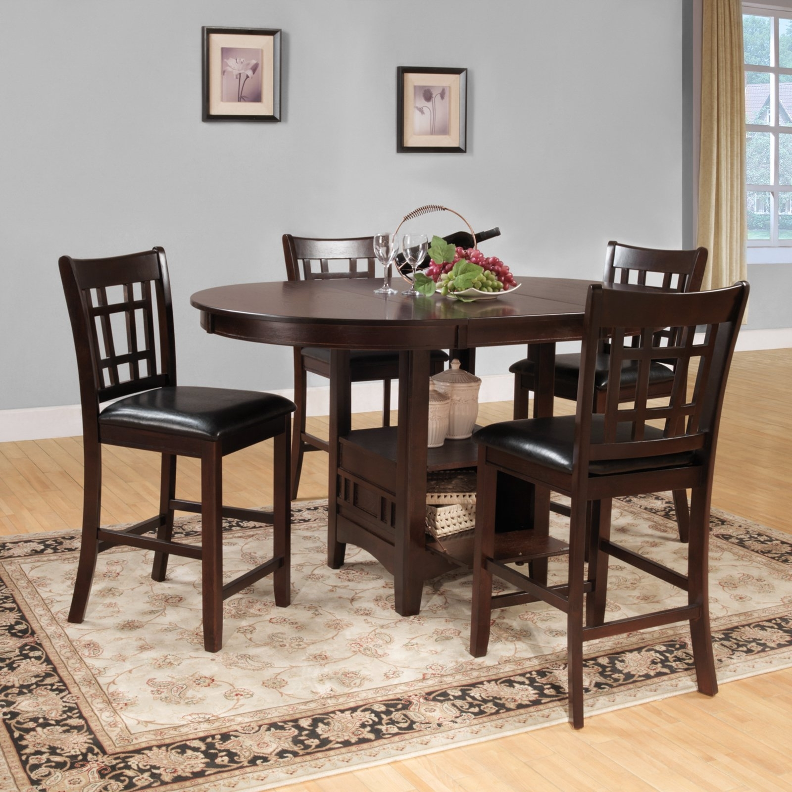 Weston Home Junipero 5 Pc Counter Height Dining Set, Dark Cherry With Regard To Most Up To Date Harper 5 Piece Counter Sets (View 3 of 20)