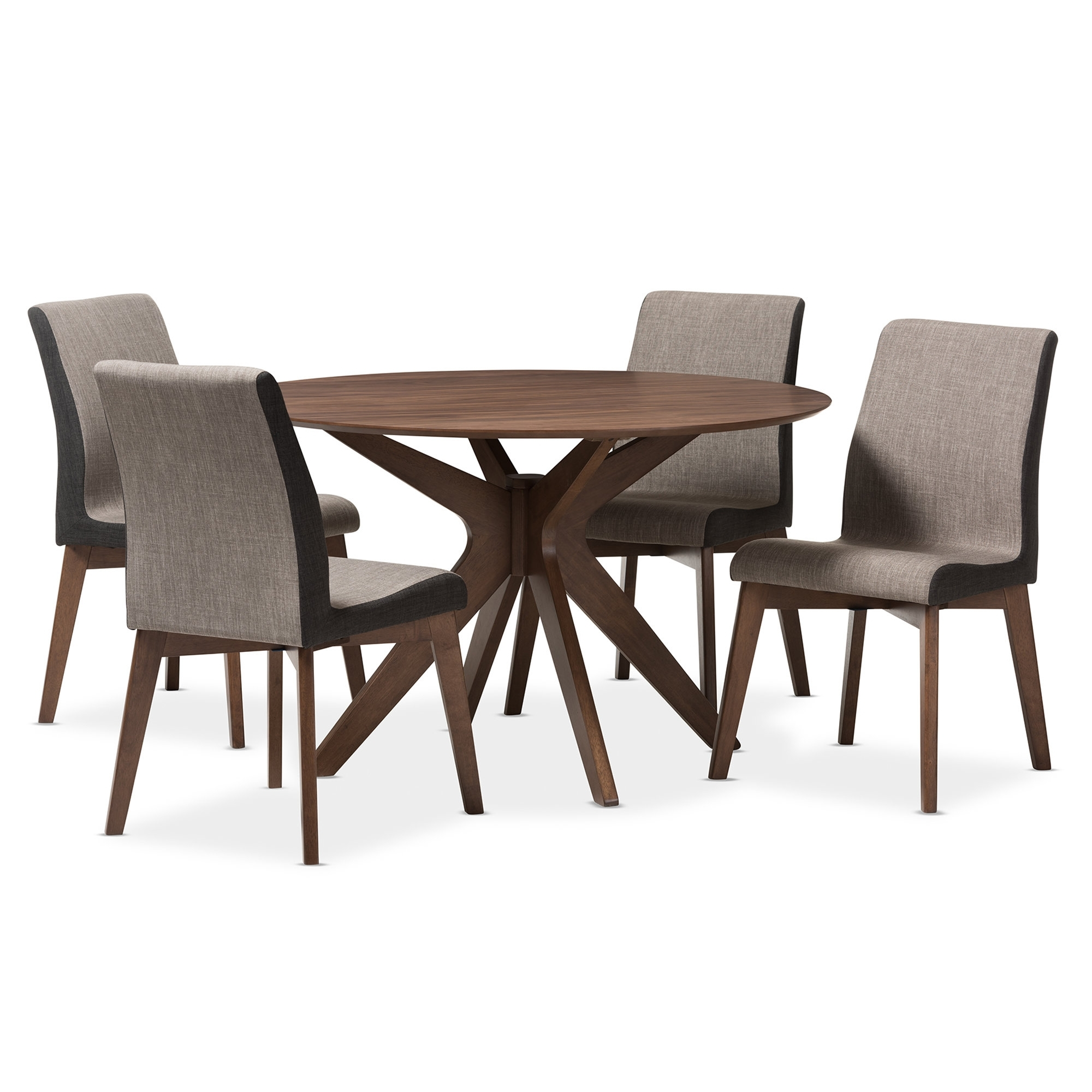 Wholesale Interiors Kimberly Mid Century Modern Wood Round 5 Piece With Regard To Most Popular Laurent 5 Piece Round Dining Sets With Wood Chairs (View 13 of 20)