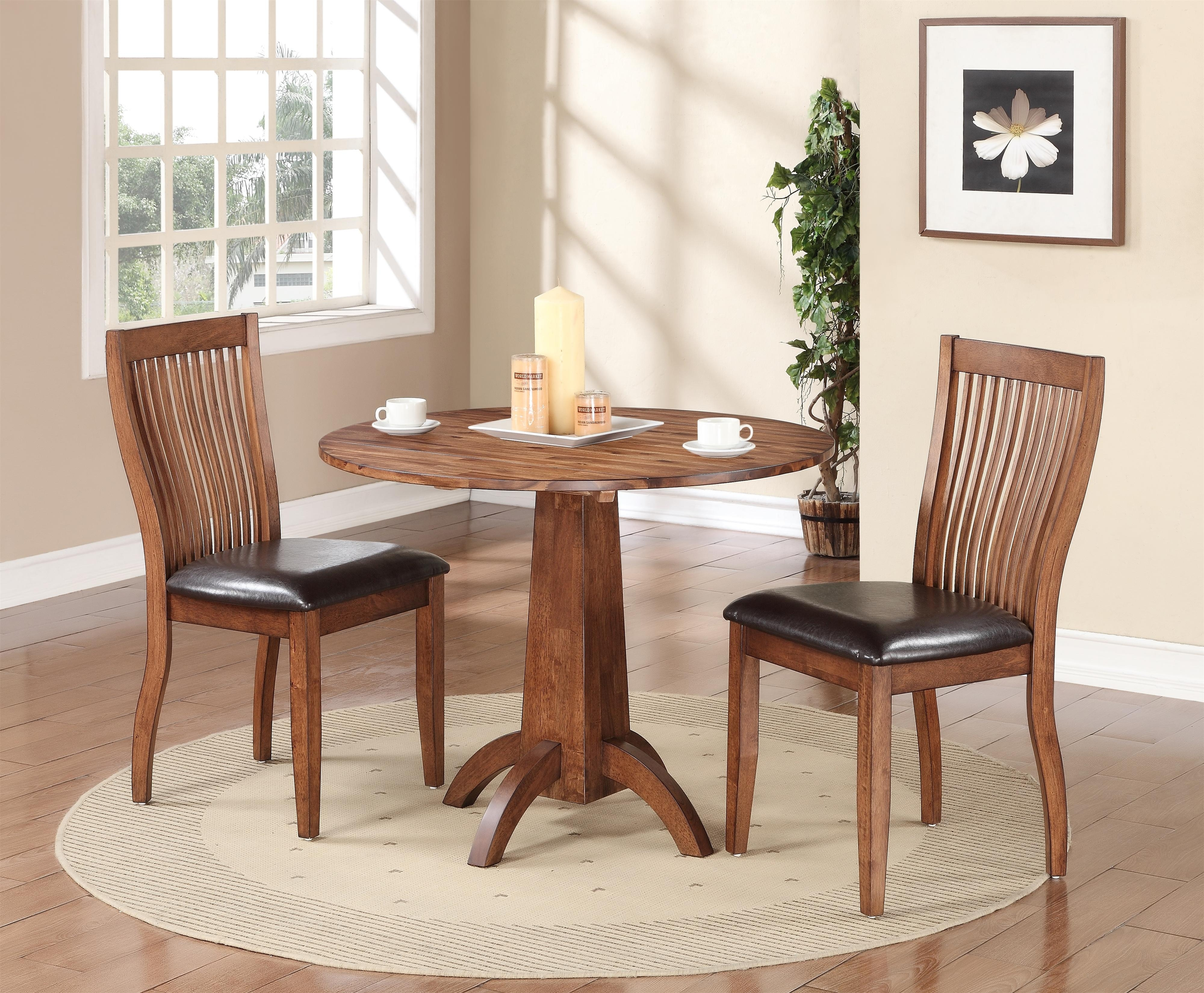 Winners Only Broadway 3 Piece Dining Set With Slat Back Chairs For 2018 Market 6 Piece Dining Sets With Side Chairs (View 7 of 20)