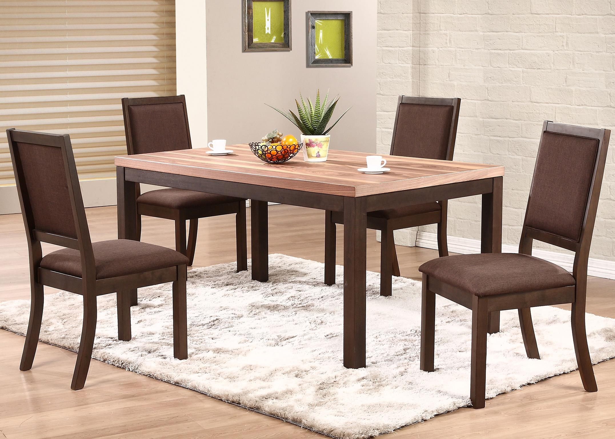 Winners Only Venice 5 Piece Dining Set With Cushioned Side Chairs Pertaining To Latest Lindy Espresso Rectangle Dining Tables (Image 19 of 20)