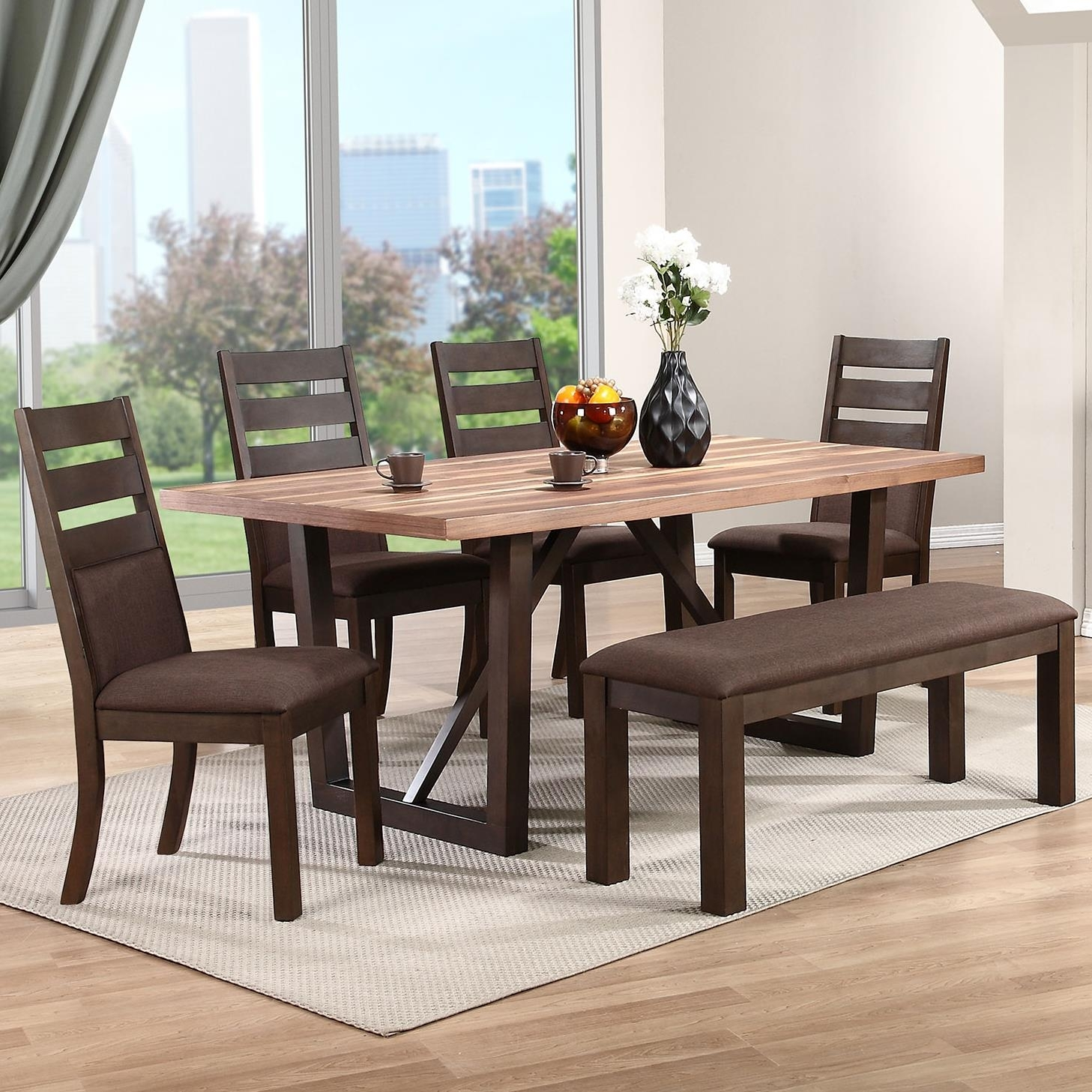 Winners Only Venice 6 Piece Dining Set With Upholstered Bench Within Current Lindy Espresso Rectangle Dining Tables (Image 20 of 20)