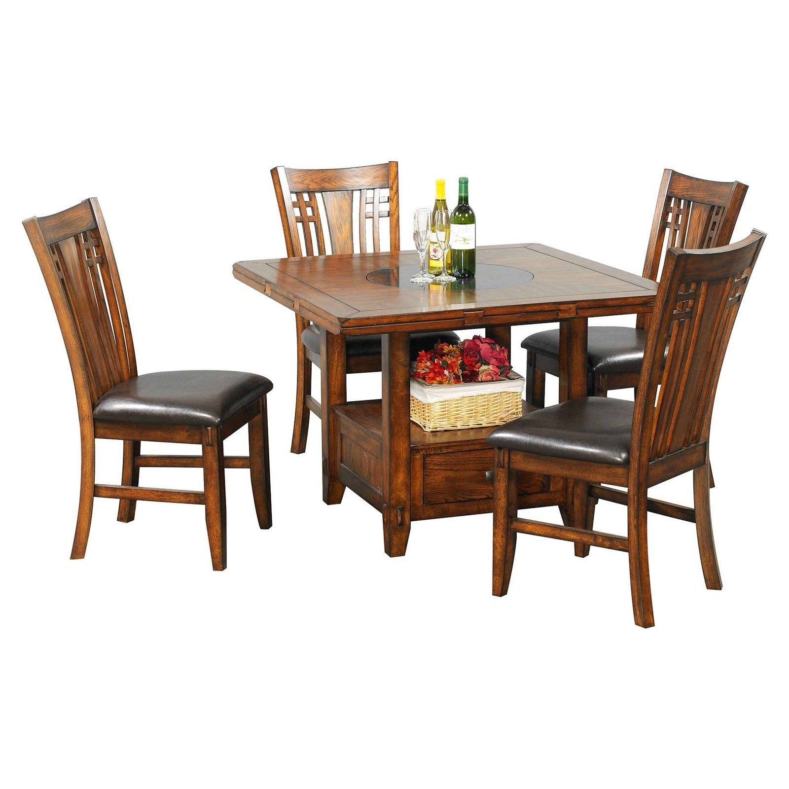 Winners Only Zahara 5 Piece Dining Table Set With Granite Lazy Susan In 2017 Craftsman 5 Piece Round Dining Sets With Side Chairs (Image 20 of 20)