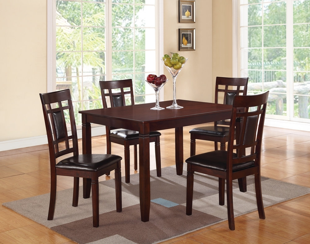 Winston Porter Hoff Wooden And Leather 5 Piece Dining Set | Wayfair Regarding Recent Candice Ii 6 Piece Extension Rectangle Dining Sets (Image 20 of 20)