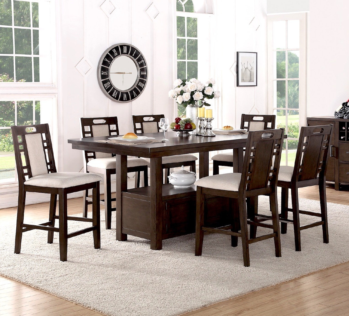 Winston Porter Nika 7 Piece Counter Height Dining Set & Reviews In Current Candice Ii 7 Piece Extension Rectangular Dining Sets With Uph Side Chairs (Image 20 of 20)