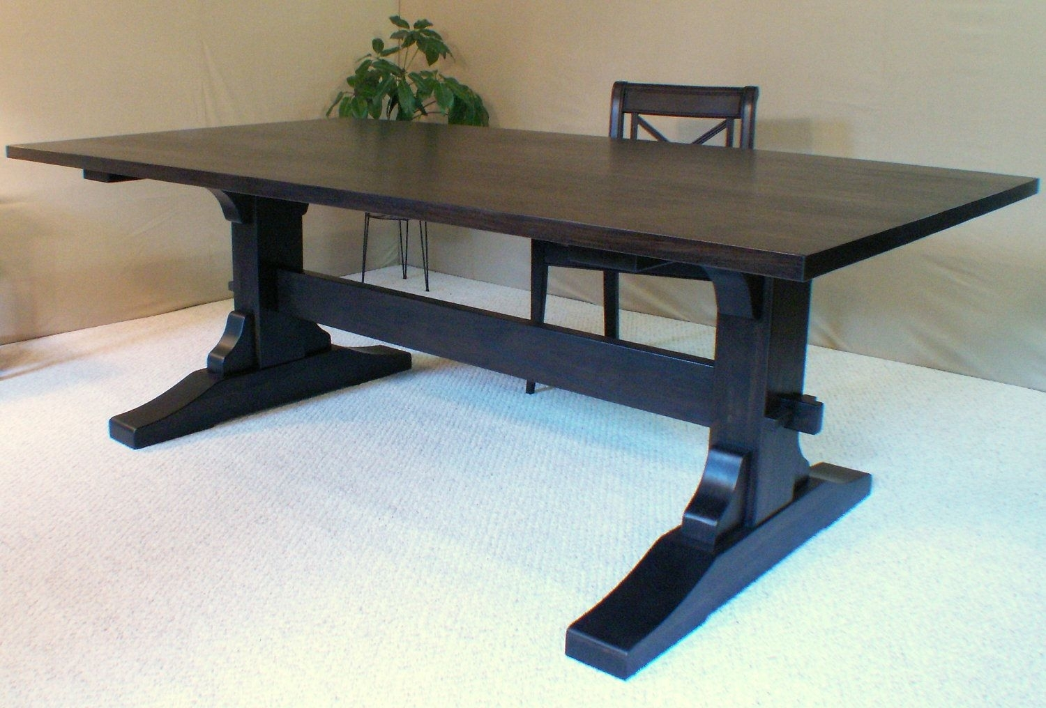 Wood Dining Table Trestle Table Black Walnut Made In Vermont 87 Within Recent Natural Wood & Recycled Elm 87 Inch Dining Tables (Image 20 of 20)